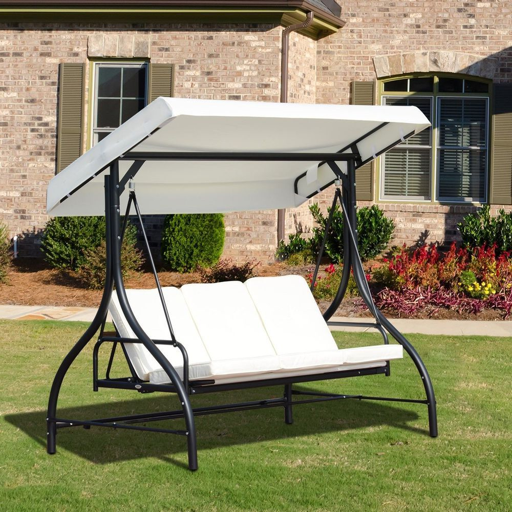 Garden Swing Chair 3 Seater Black Metal Frame White Canopy Intended For Famous 3 Seat Pergola Swings (View 13 of 25)