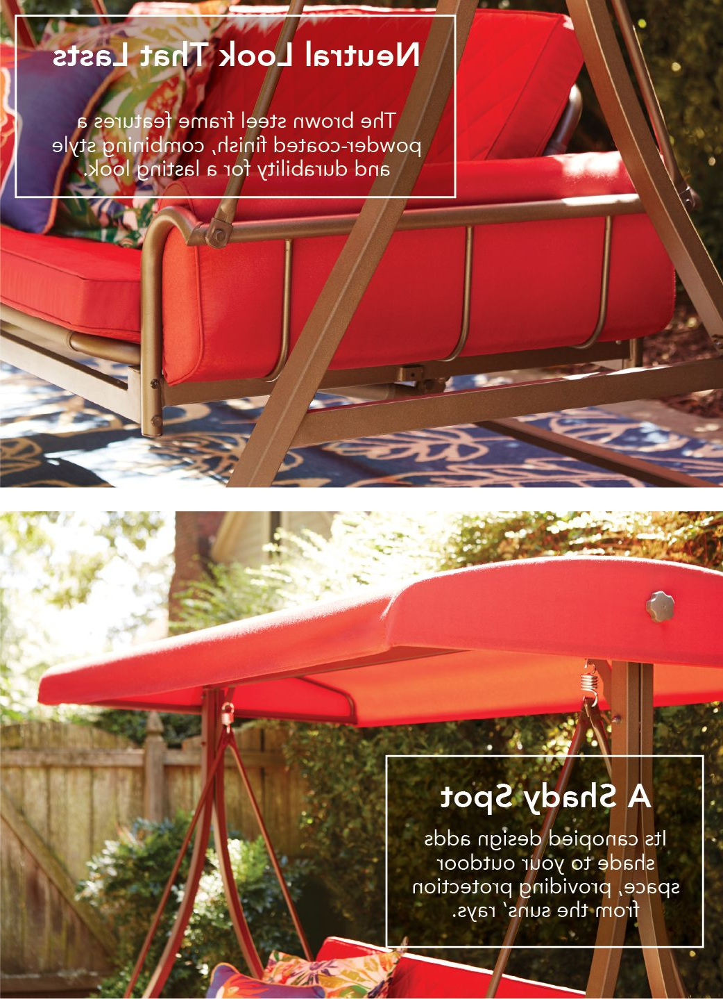Garden Treasures 3 Person Red With Brown Powder Coated Frame Intended For 2019 3 Person Brown Steel Outdoor Swings (View 10 of 25)