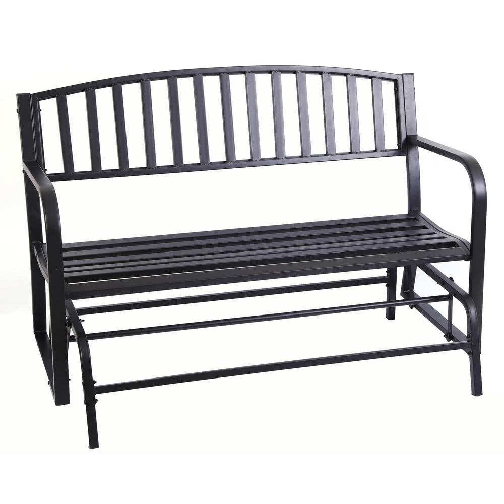 Gardenised 50 In. Black 2 Person Metal Patio Garden Park Yard Outdoor Swing  Glider Bench Powder Coated Throughout Famous Outdoor Steel Patio Swing Glider Benches (Gallery 2 of 25)