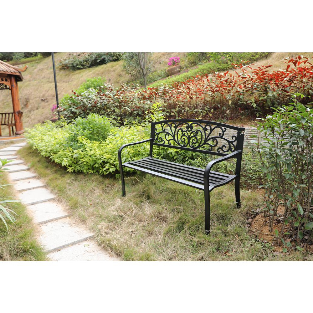 Gardenised Black Patio Garden Park Yard 50 In. Outdoor Steel Bench Powder  Coated With Cast Iron Back For Famous 2 Person Antique Black Iron Outdoor Swings (Gallery 18 of 25)