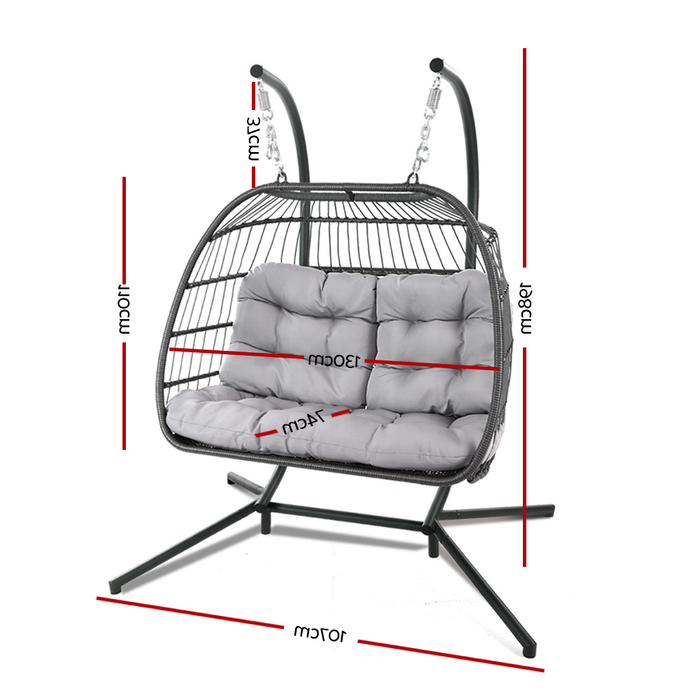 Gardeon Outdoor Furniture Hanging Swing Chair Egg Hammock Pod Wicker 2  Person Grey Inside Widely Used 2 Person Gray Steel Outdoor Swings (Gallery 8 of 25)
