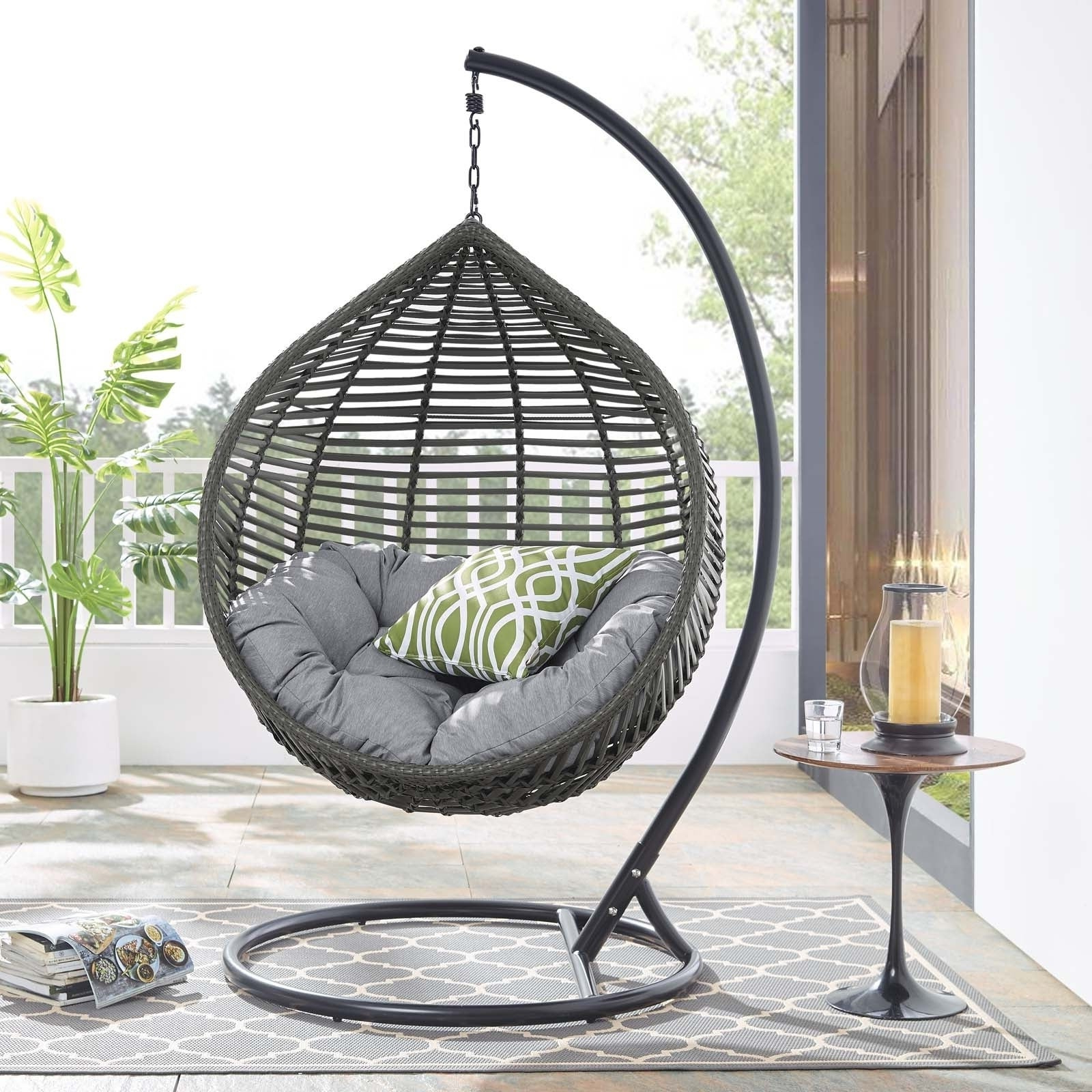 Garner Teardrop Outdoor Patio Swing Chair Regarding Well Known 2 Person Gray Steel Outdoor Swings (View 16 of 25)