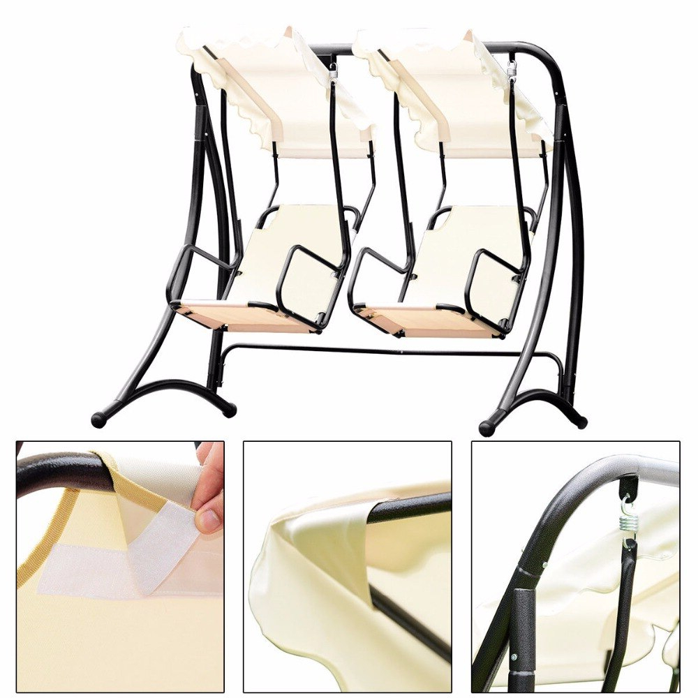 Giantex 2 Person Hammock Porch Swing Patio Outdoor Hanging  Loveseat Canopy Glider Swing Outdoor Furniture Op3540 On Aliexpress (Gallery 8 of 25)