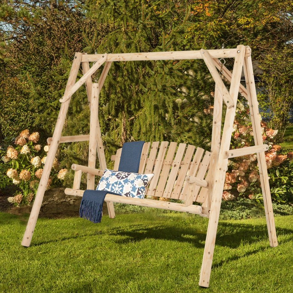 Giantex Rustic Wooden Porch Swing Bench W/a Frame Stand Set Natural Garden Furniture New Outdoor Furniture Op3701 On Aliexpress (View 17 of 25)