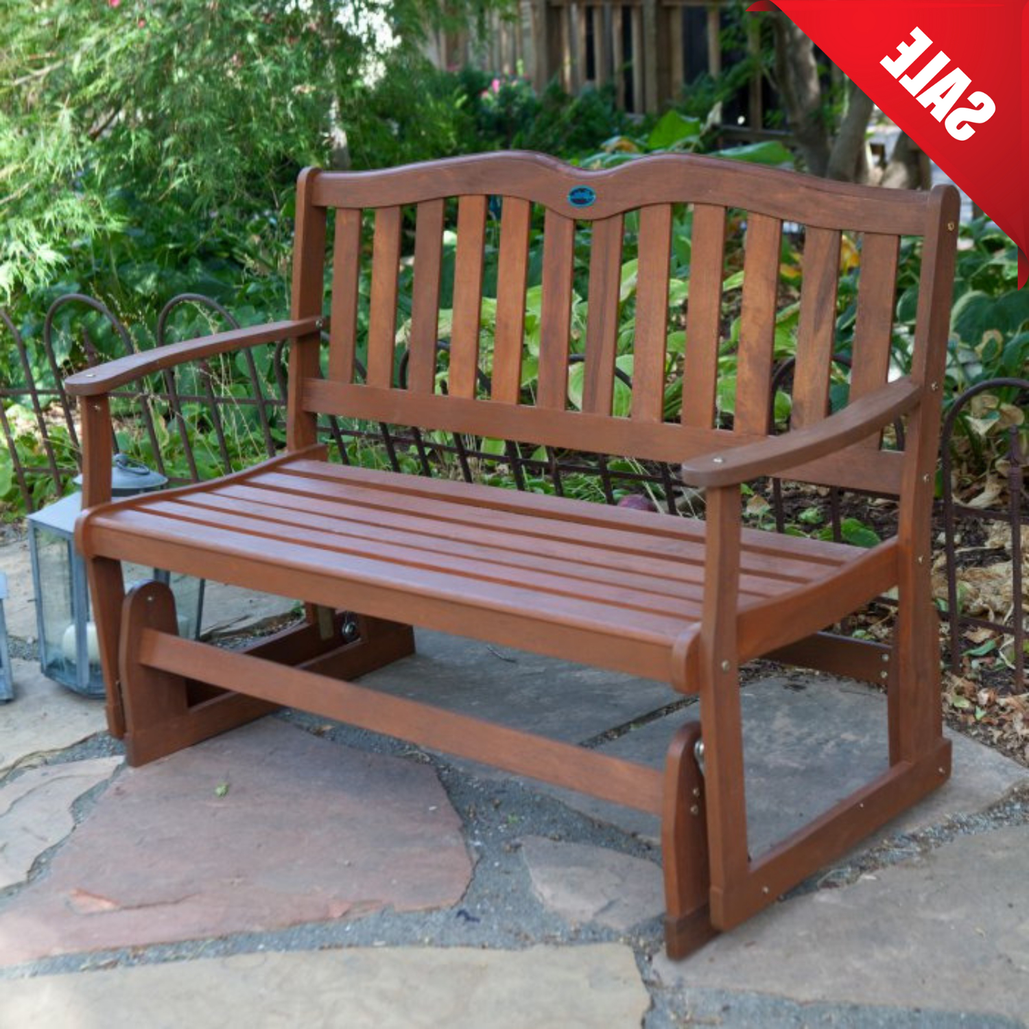 Glider Bench Wooden Porch Seat Outdoor Loveseat Patio Garden Furniture Rocking Regarding Fashionable Teak Outdoor Glider Benches (View 6 of 25)