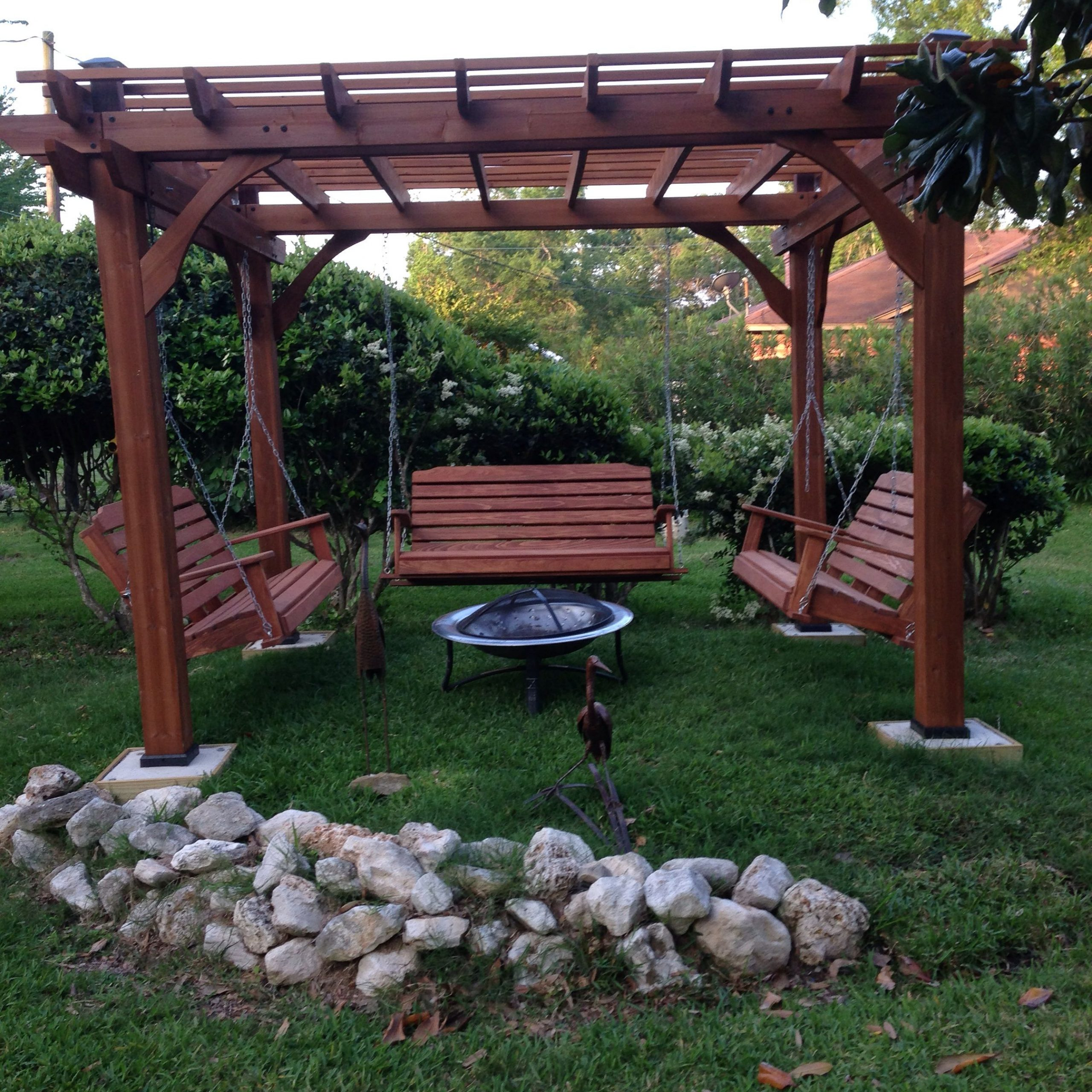 Great Outdoor Area With Pergola, Swings And Fire Pit Within Most Up To Date Patio Gazebo Porch Canopy Swings (View 8 of 25)