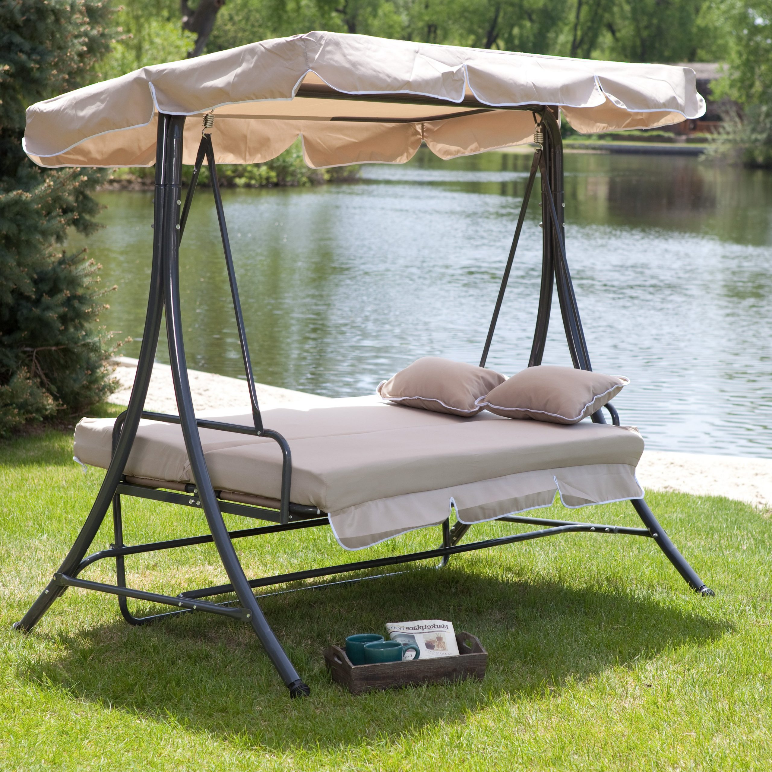 Hammock Patio Backyard Outdoor Swing Hanging Chair With Two Intended For 2019 Patio Gazebo Porch Canopy Swings (View 19 of 25)