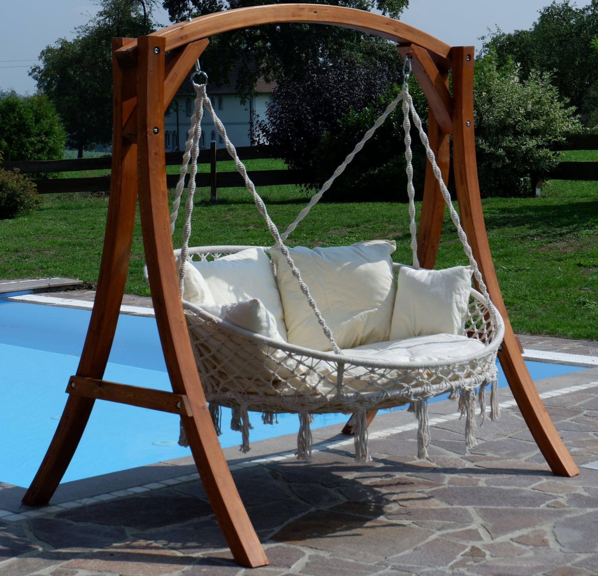 Hängesessel Hängelounger Doppellounger Lounge Für 2 Personen Throughout Popular 2 Person Hammered Bronze Iron Outdoor Swings (View 14 of 25)