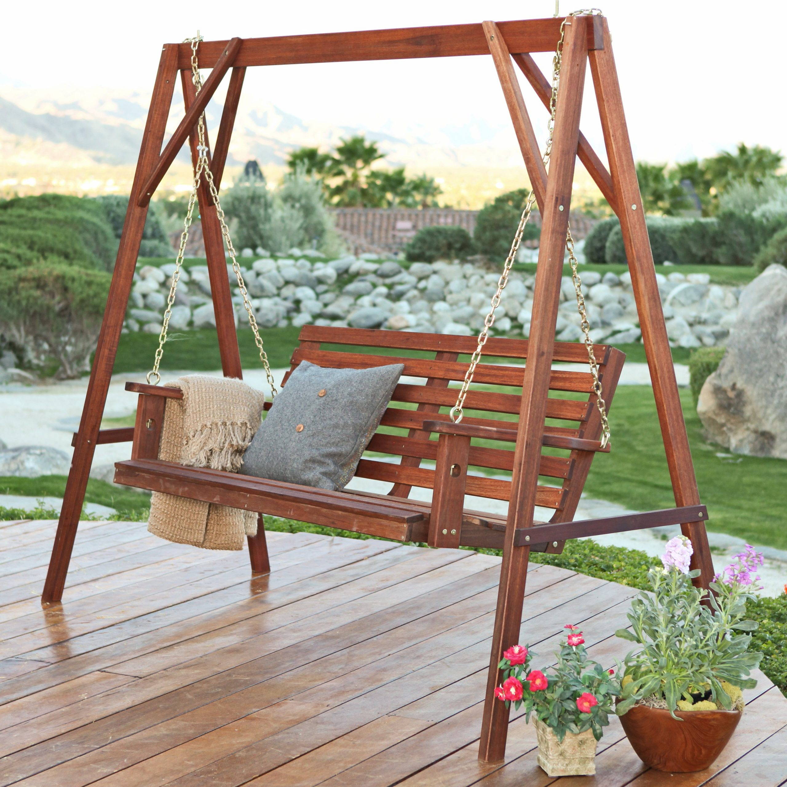 Hardwood Hanging Porch Swings With Stand Regarding 2020 Belham Living Richmond Straight Back Porch Swing & Stand Set – Walmart (View 5 of 25)