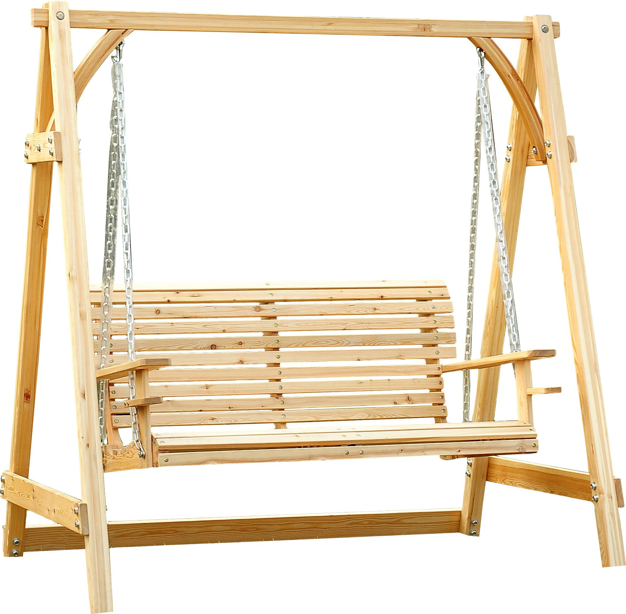 Hardwood Hanging Porch Swings With Stand Regarding Popular Arianna Hardwood Hanging Porch Swing With Stand (View 3 of 25)