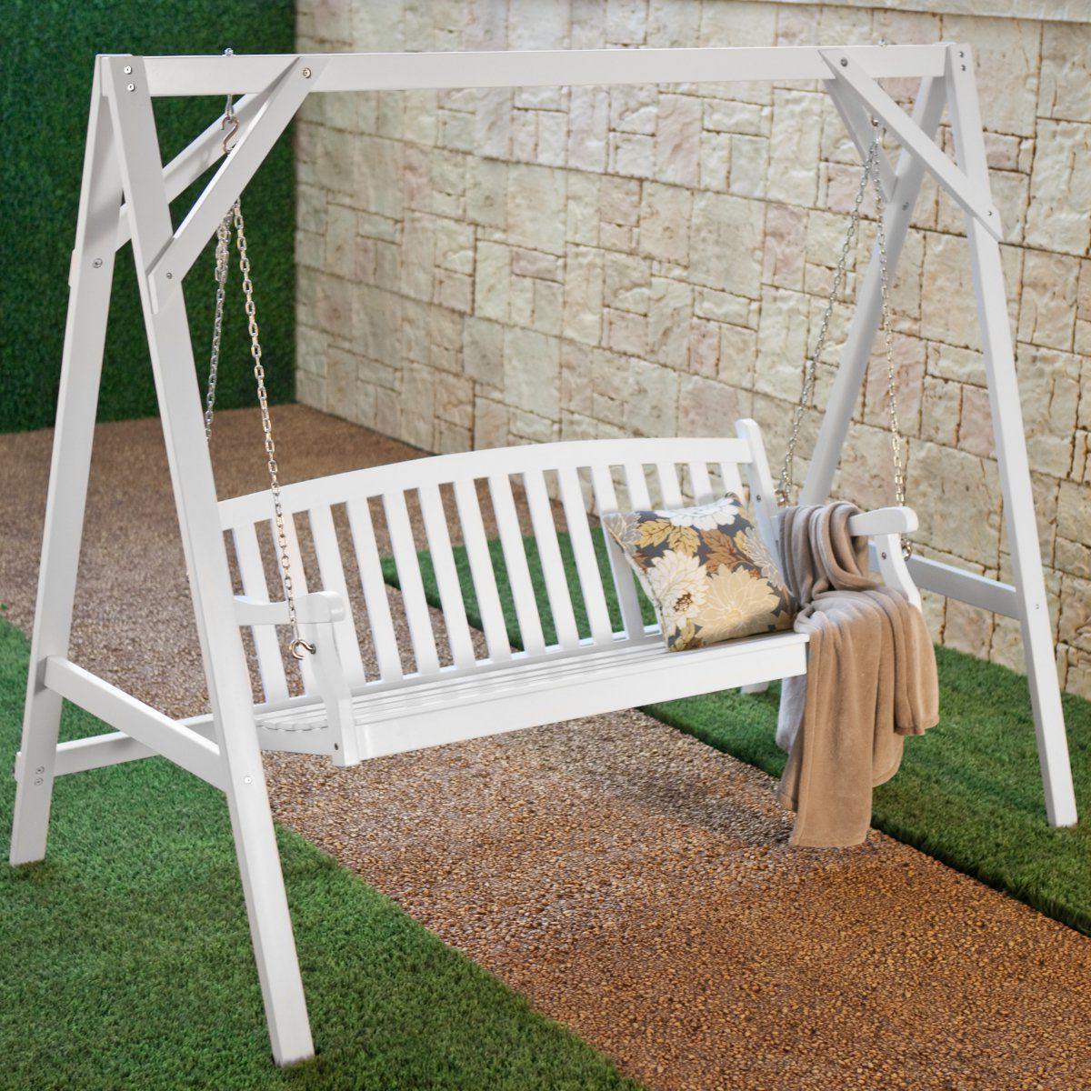 Hardwood Hanging Porch Swings With Stand Within 2019 Wood Porch Swing Stand – White (View 6 of 25)