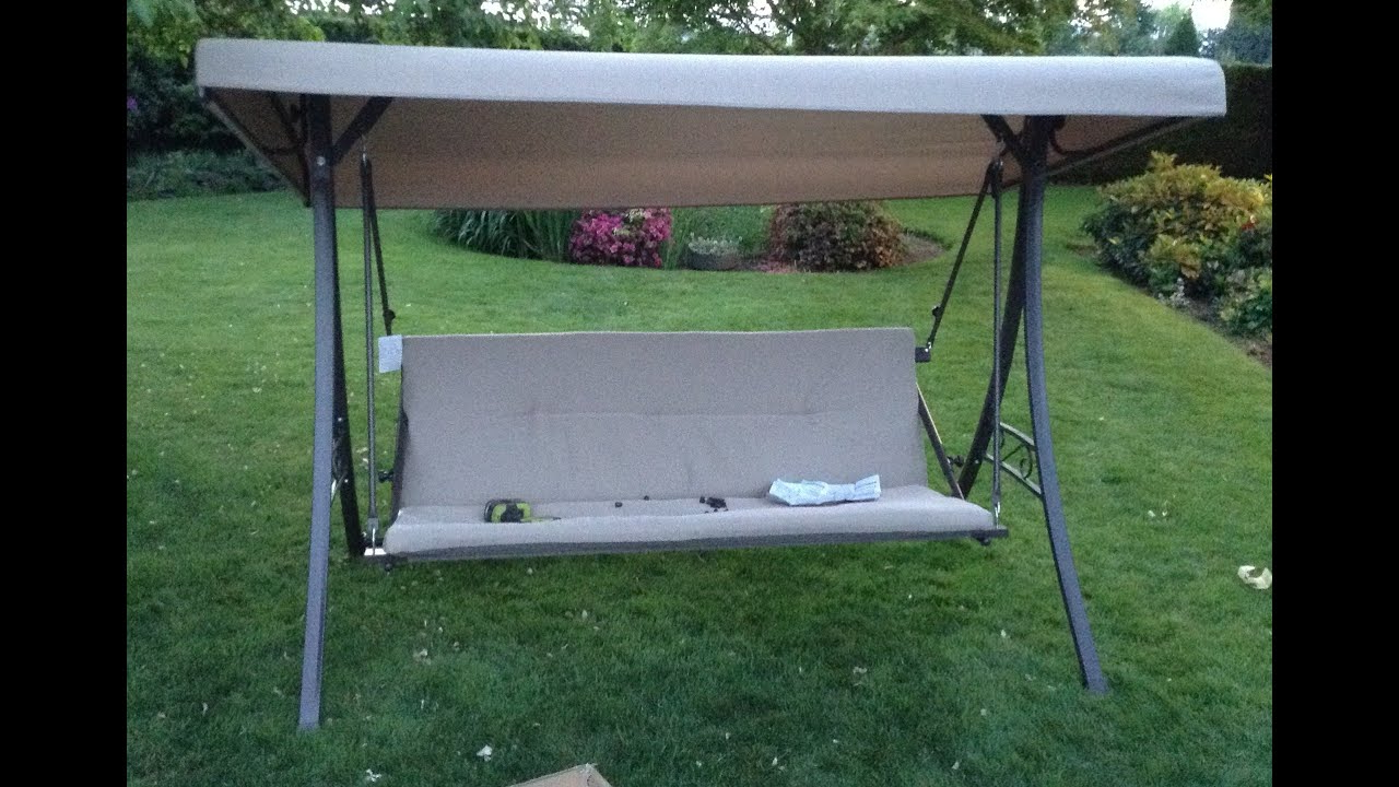 Home Depot Hampton Bay Futon Swing Assembly Tutorial Within Preferred Patio Gazebo Porch Canopy Swings (View 13 of 25)