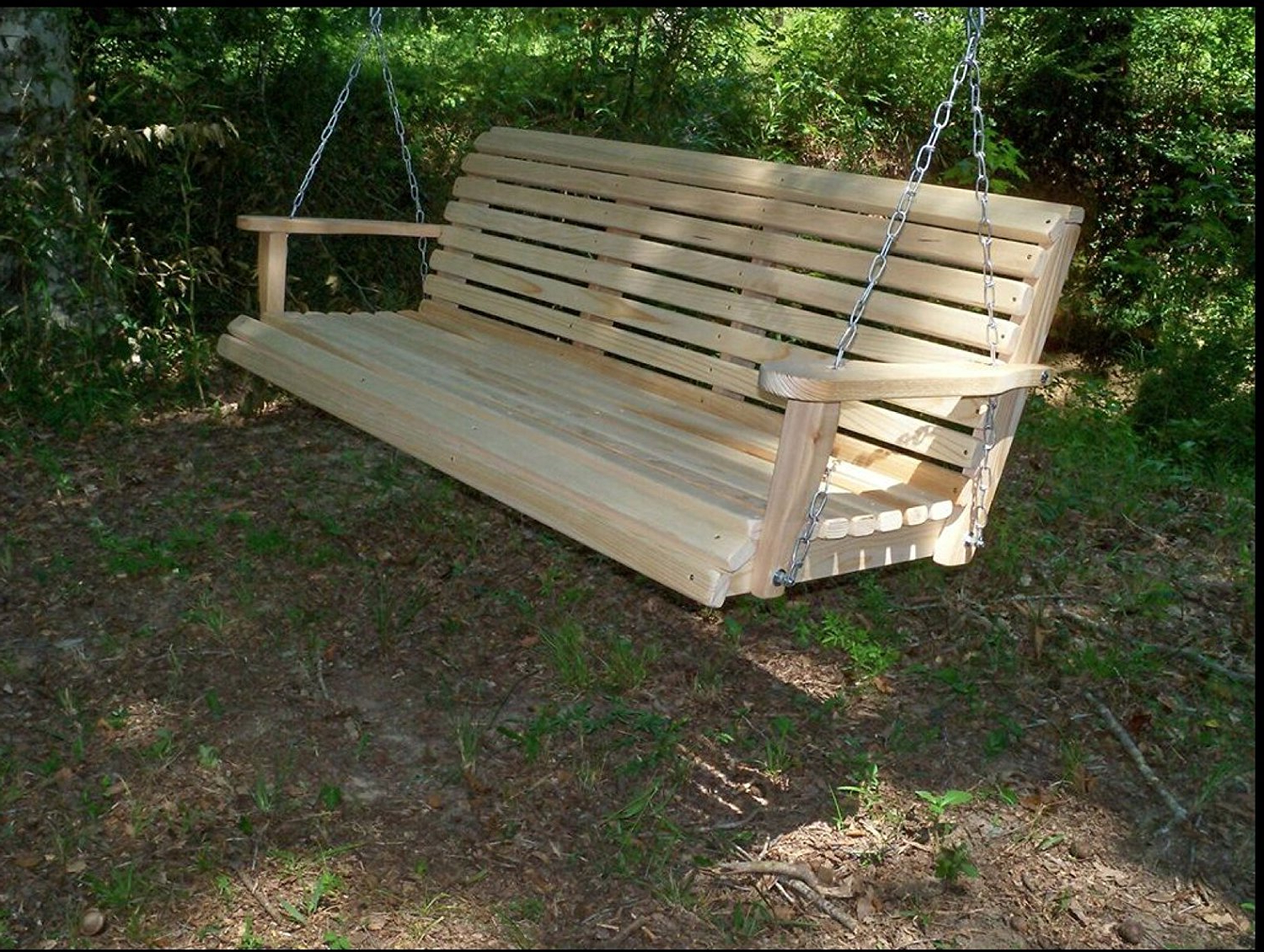 Home Garden Lawn Outdoor Backyard Patio 5 Ft Cypress Lumber Roll Back Porch Swing With Swing Mate Comfort Springs – Walmart Within 2019 5 Ft Cedar Swings With Springs (View 6 of 25)