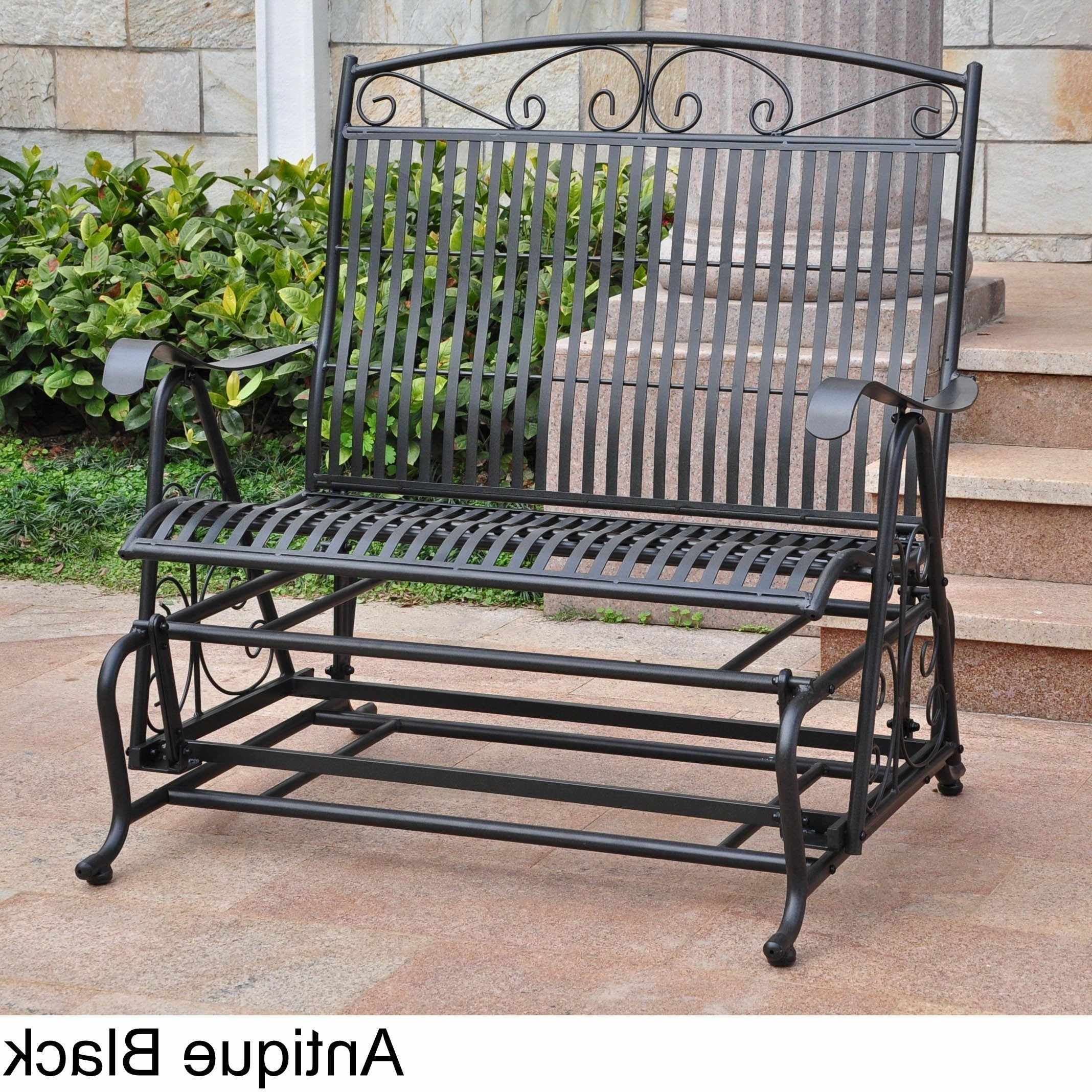 International Caravan Mandalay Iron Double Glider Bench Seat Inside Most Up To Date 2 Person Antique Black Iron Outdoor Gliders (View 4 of 25)