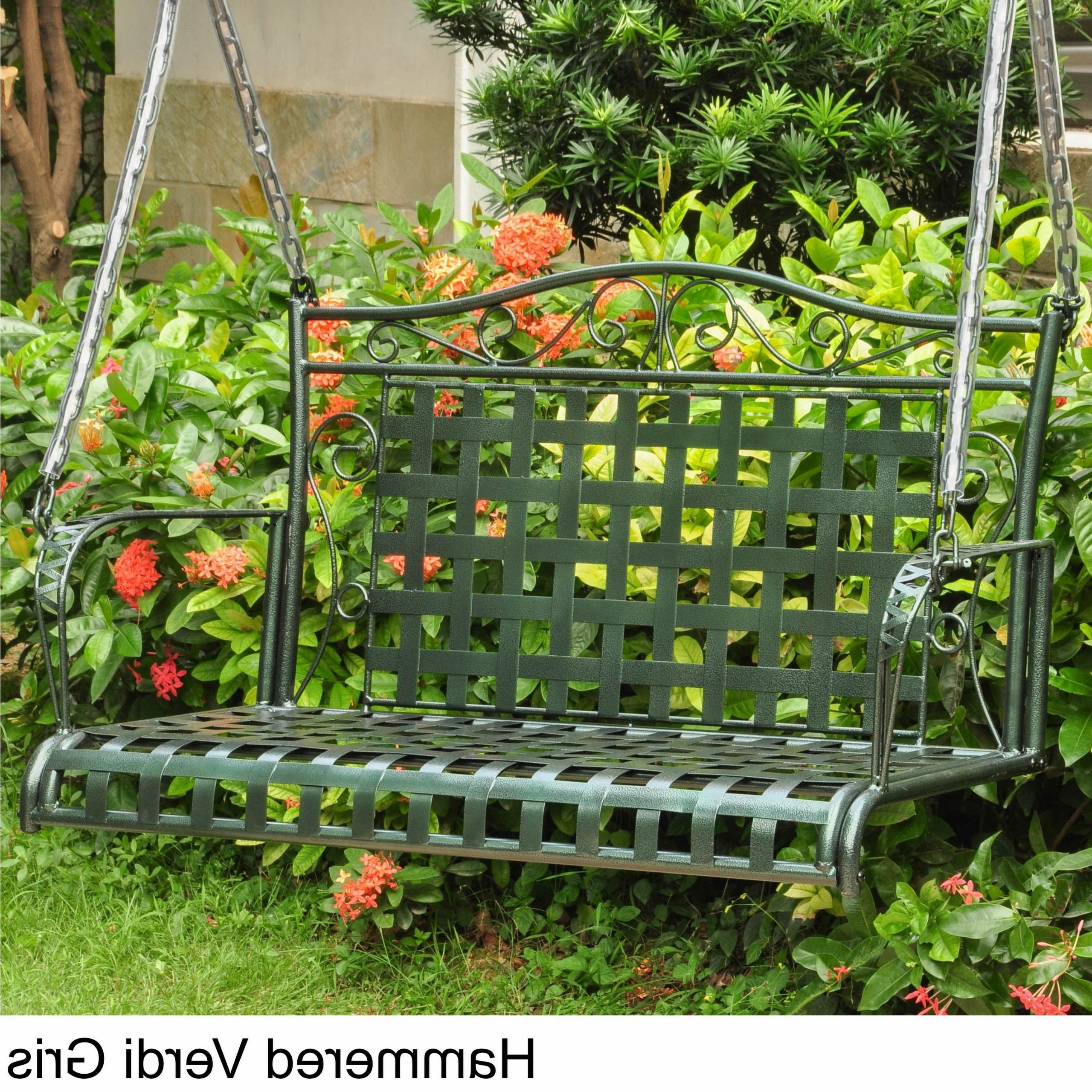 International Caravan Mandalay Iron Patio Swing Pertaining To Most Current 2 Person Antique Black Iron Outdoor Swings (Gallery 17 of 25)