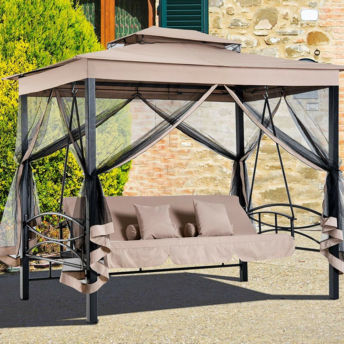 Kenyatta Outdoor Patio Daybed Canopy Gazebo Swing With Mesh Walls Within Best And Newest Canopy Patio Porch Swings With Pillows And Cup Holders (View 5 of 25)