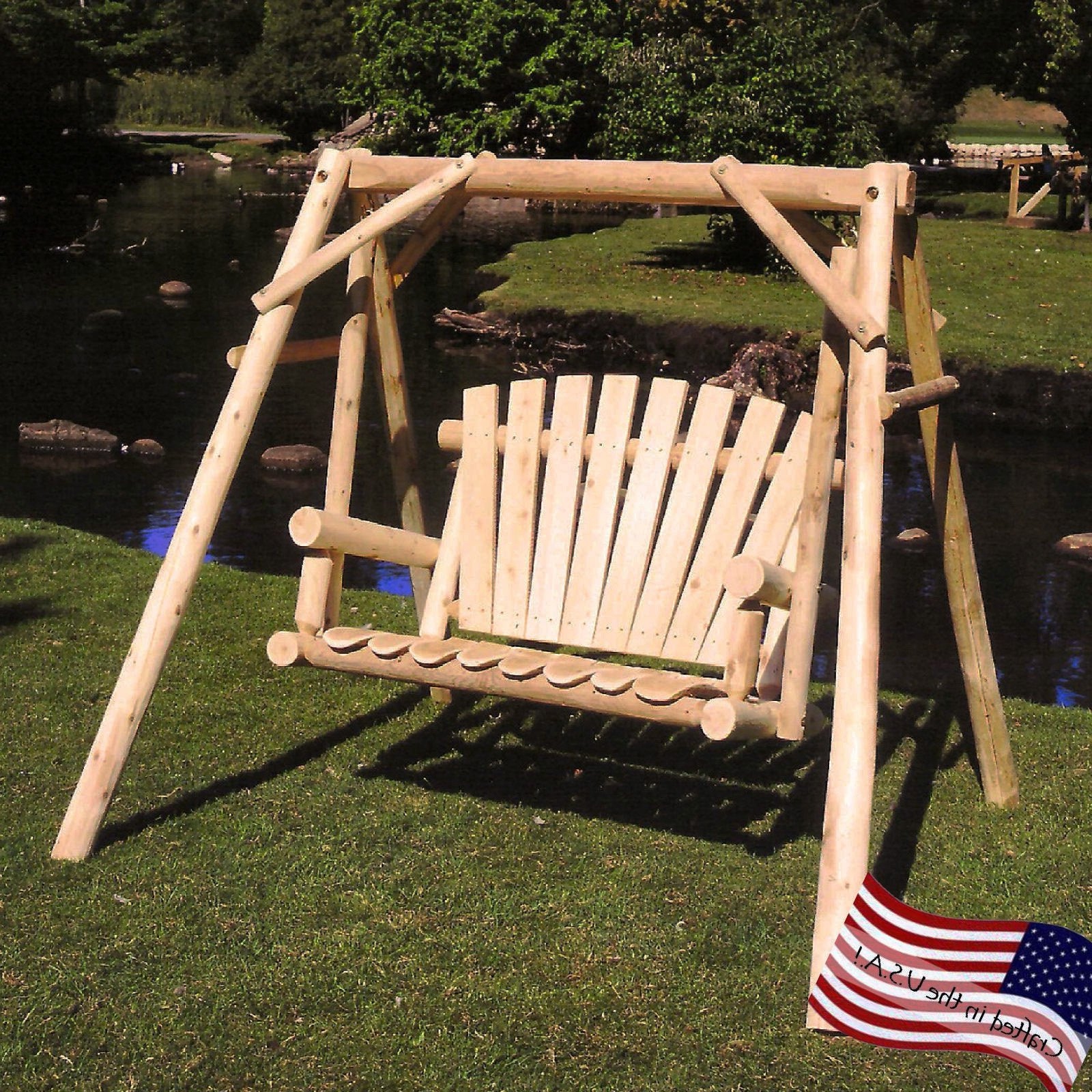 Lakeland Mills White Cedar Log Porch Swing And Stand Set – Walmart For 2019 Patio Porch Swings With Stand (View 6 of 25)