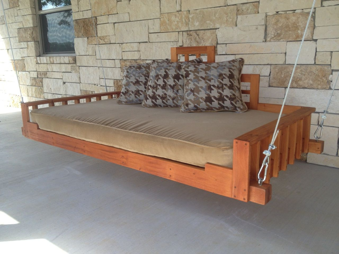 Lamp Outdoor Porch Swings Throughout 2019 Hand Made Outdoor Patio Swing Bed Or Hanging Day Bed (View 9 of 25)