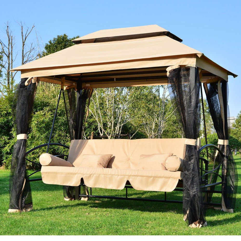 Large Garden Gazebo Swing Seat Bench Hammock Canopy Cushions Throughout Widely Used Patio Gazebo Porch Canopy Swings (Gallery 3 of 25)