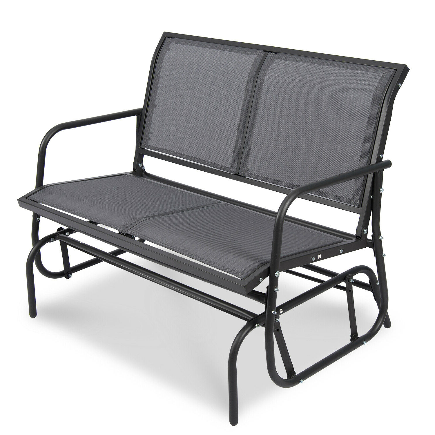 Latest 2 Person Loveseat Chair Patio Porch Swings With Rocker Within Patio Garden Glider 2 Person Swing Bench Rocking Chair Porch Outdoor Furniture (View 5 of 25)