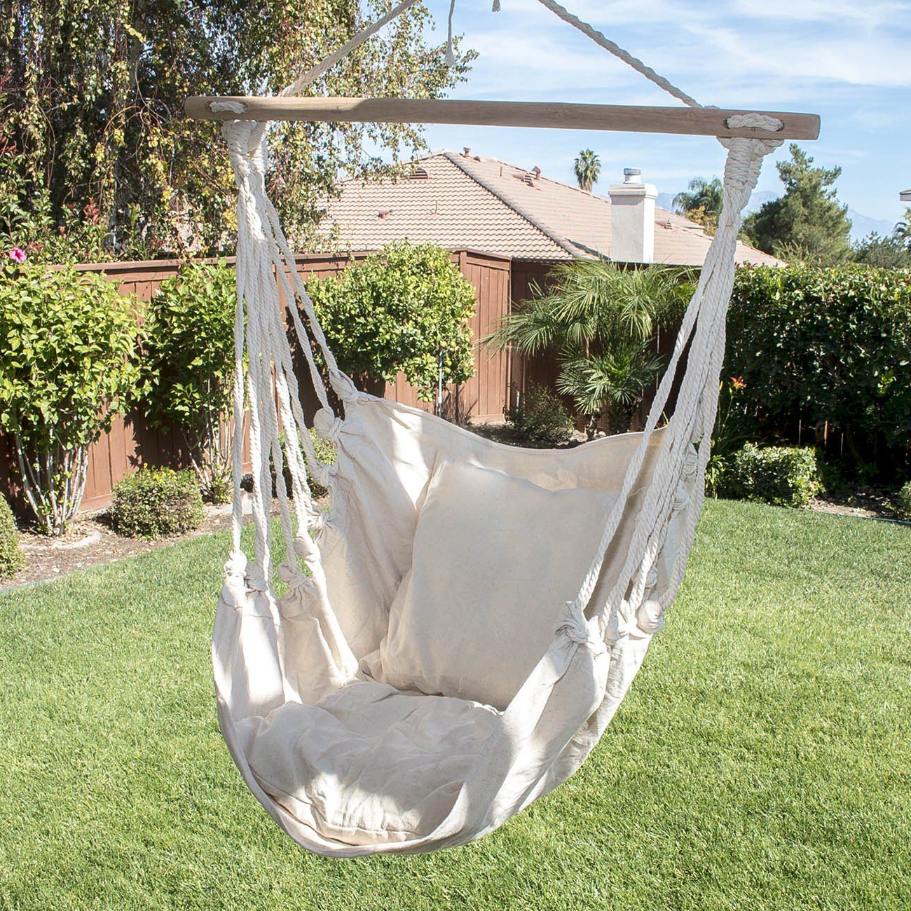 Latest Cotton Porch Swings Inside Arksen© Outdoor Hanging Cotton Pillow Hammock Chair Swing (View 9 of 25)
