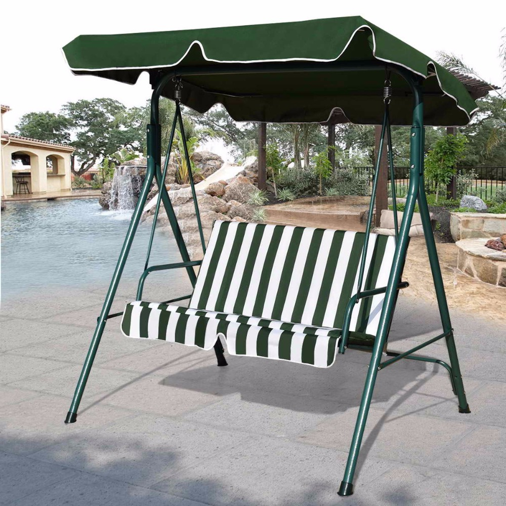 Latest Goplus Loveseat Patio Canopy Swing Glider Hammock Cushioned Throughout 3 Seats Patio Canopy Swing Gliders Hammock Cushioned Steel Frame (View 24 of 25)