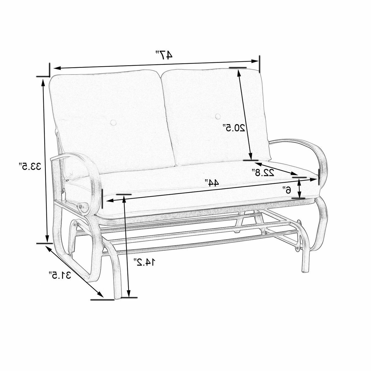 Latest Patio Glider Bench Loveseat Outdoor Cushioed 2 Person With Outdoor Patio Swing Glider Bench Chair S (View 5 of 25)
