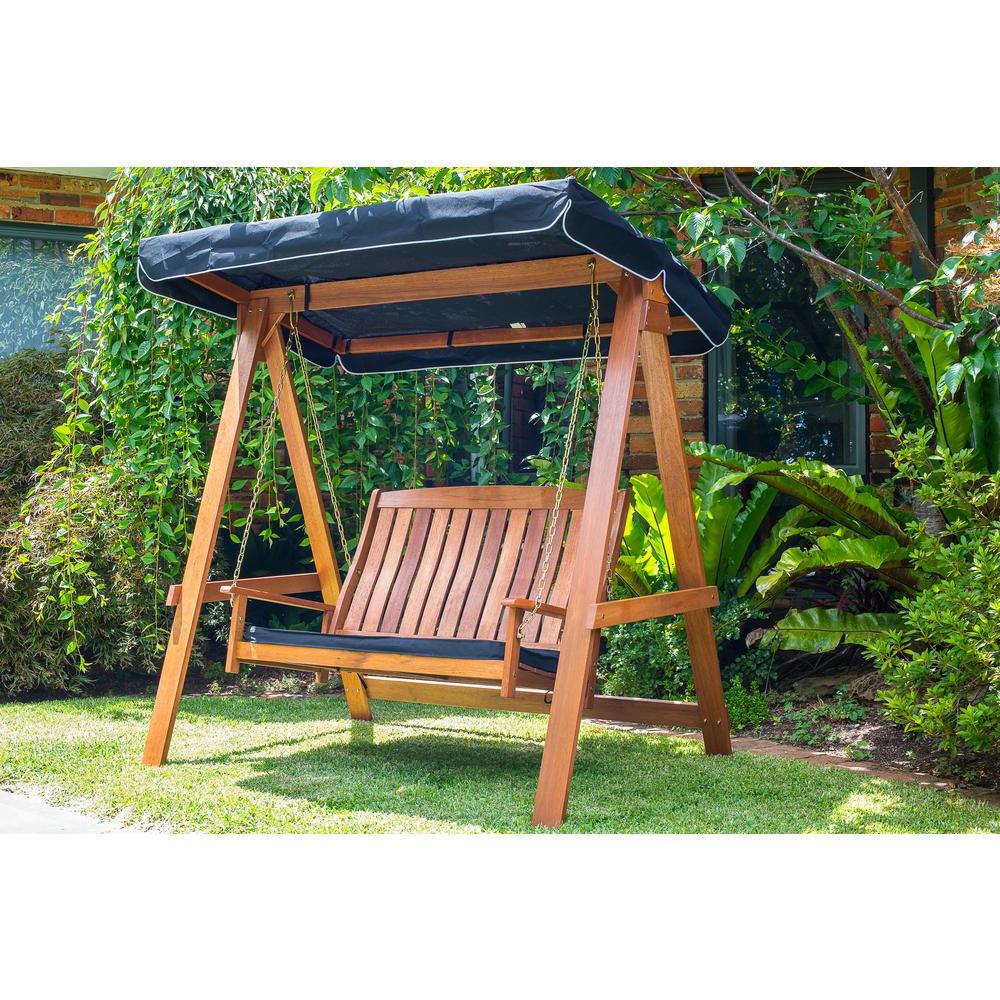 Lautan Avoca 2 Seat Swing In Trendy 3 Person Light Teak Oil Wood Outdoor Swings (View 11 of 25)