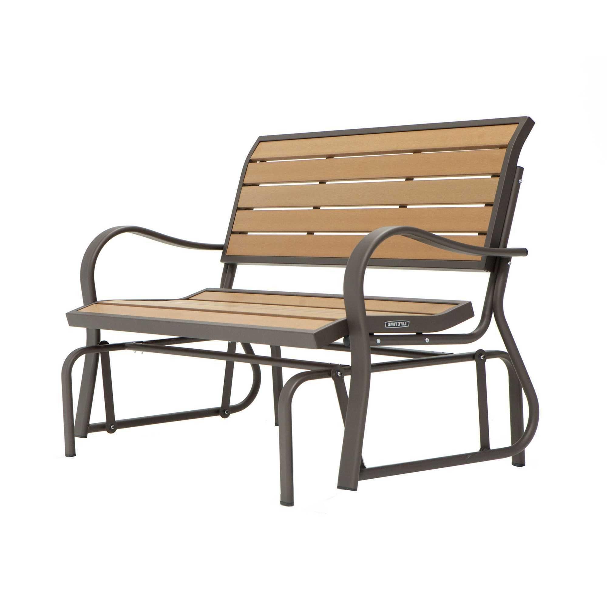 Lifetime Plastic/steel Glider Bench (Wood Alternative Regarding Recent Outdoor Patio Swing Porch Rocker Glider Benches Loveseat Garden Seat Steel (View 14 of 25)