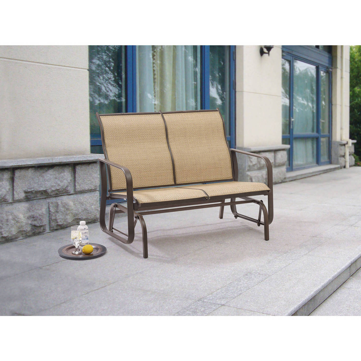 Mainstays Wesley Creek 2 Seat Outdoor Sling Seat Glider – Walmart Throughout Most Recently Released Outdoor Swing Glider Chairs With Powder Coated Steel Frame (View 5 of 25)