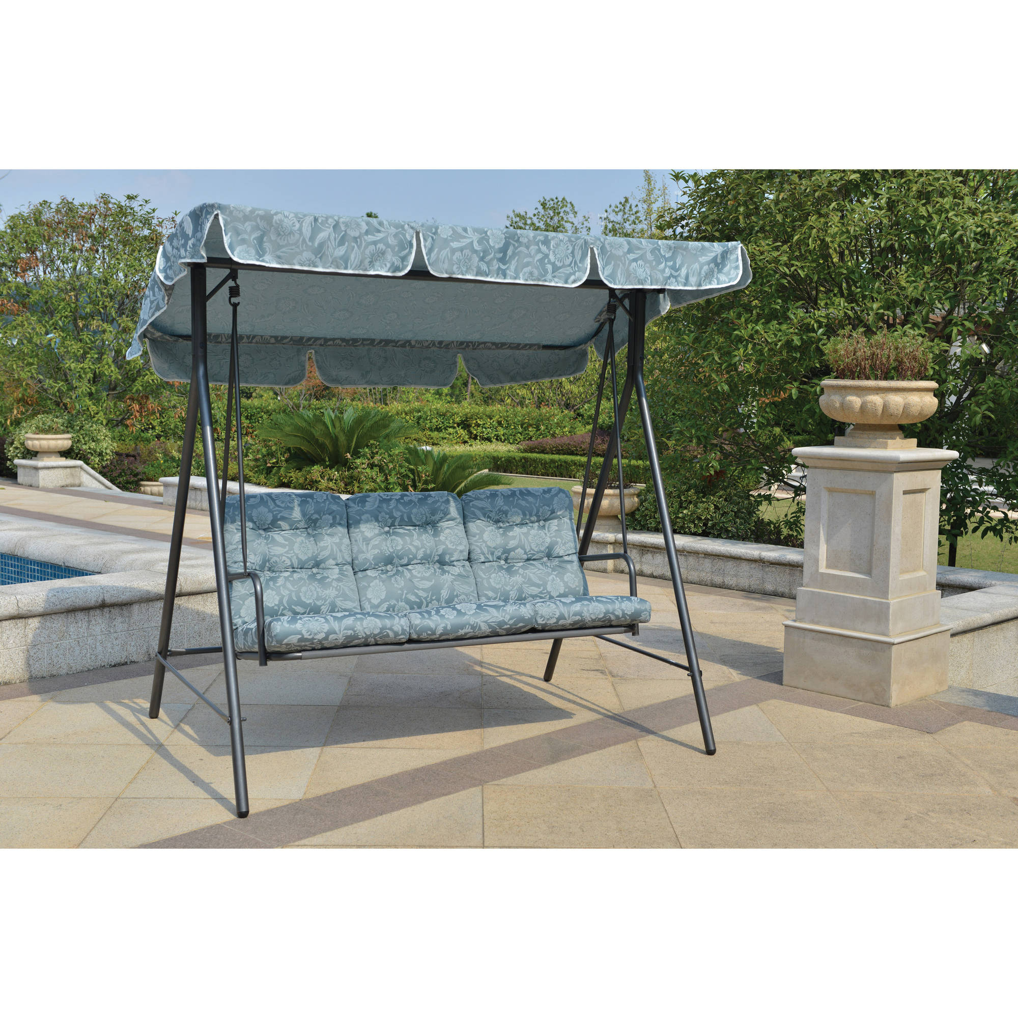 Mainstays Willow Springs Outdoor Swing, Blue, Seats 3 – Walmart With Regard To Well Known Canopy Patio Porch Swings With Pillows And Cup Holders (View 16 of 25)