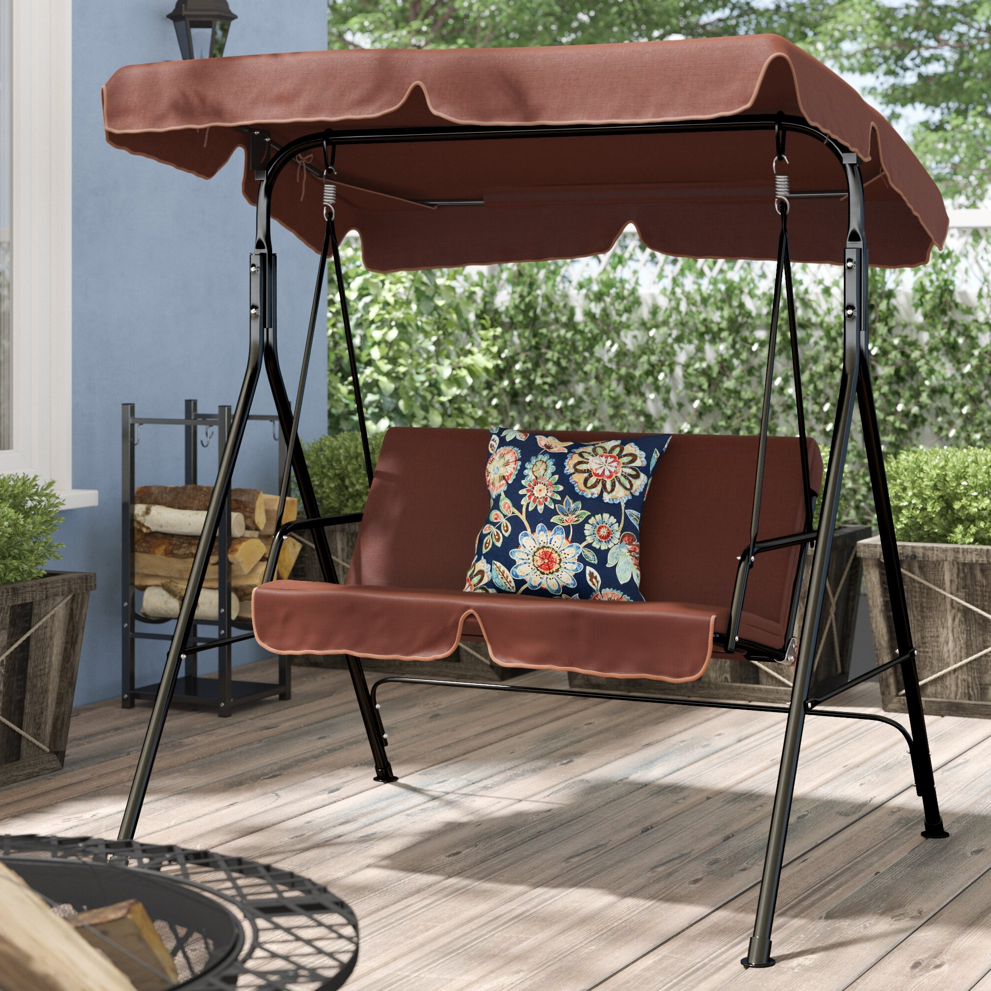 Mansour Patio Loveseat Canopy Hammock Porch Swing With Stand Pertaining To Preferred Canopy Patio Porch Swing With Stand (View 17 of 25)