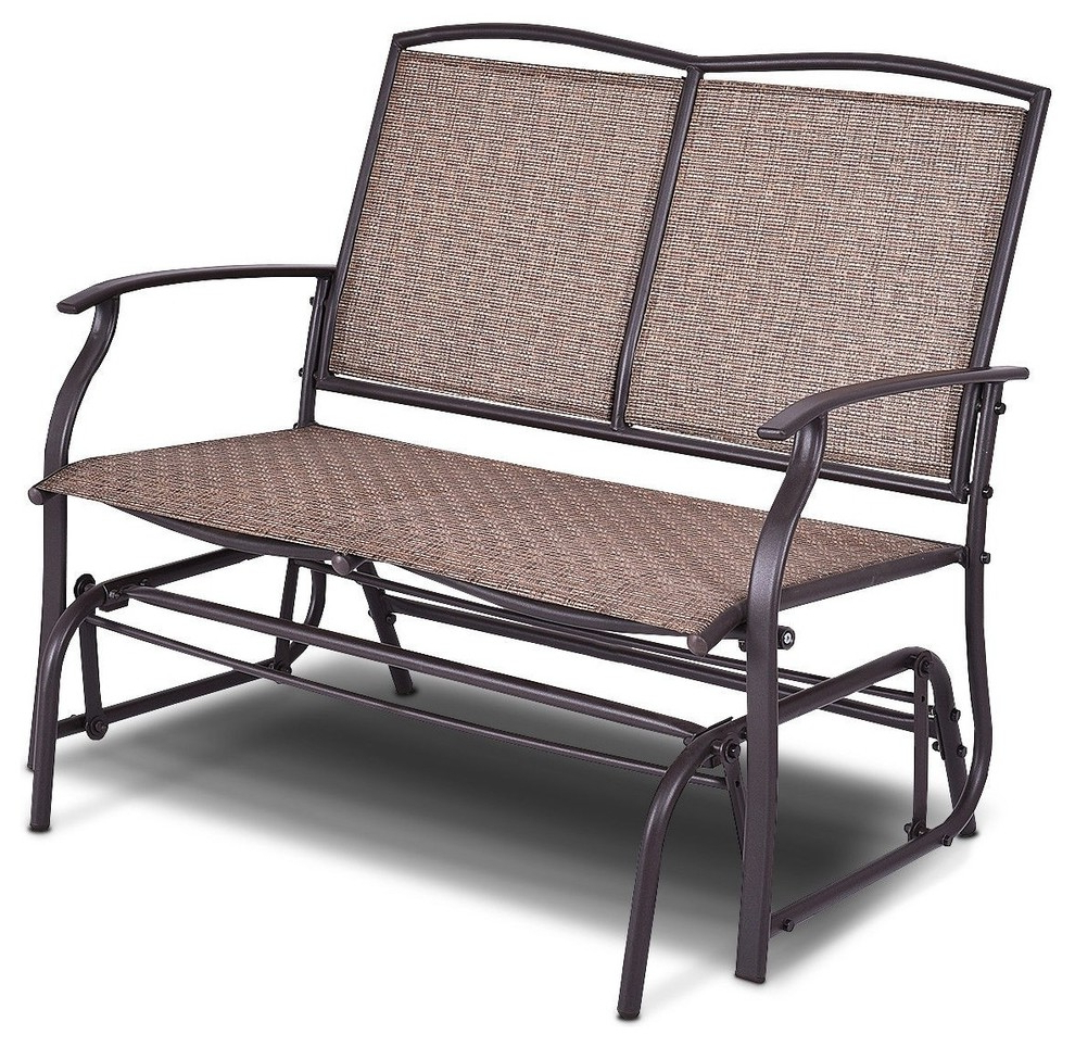 Modern Patio Glider Rocking 2 Person Steel Bench Throughout Most Recently Released 2 Person Antique Black Iron Outdoor Gliders (View 23 of 25)