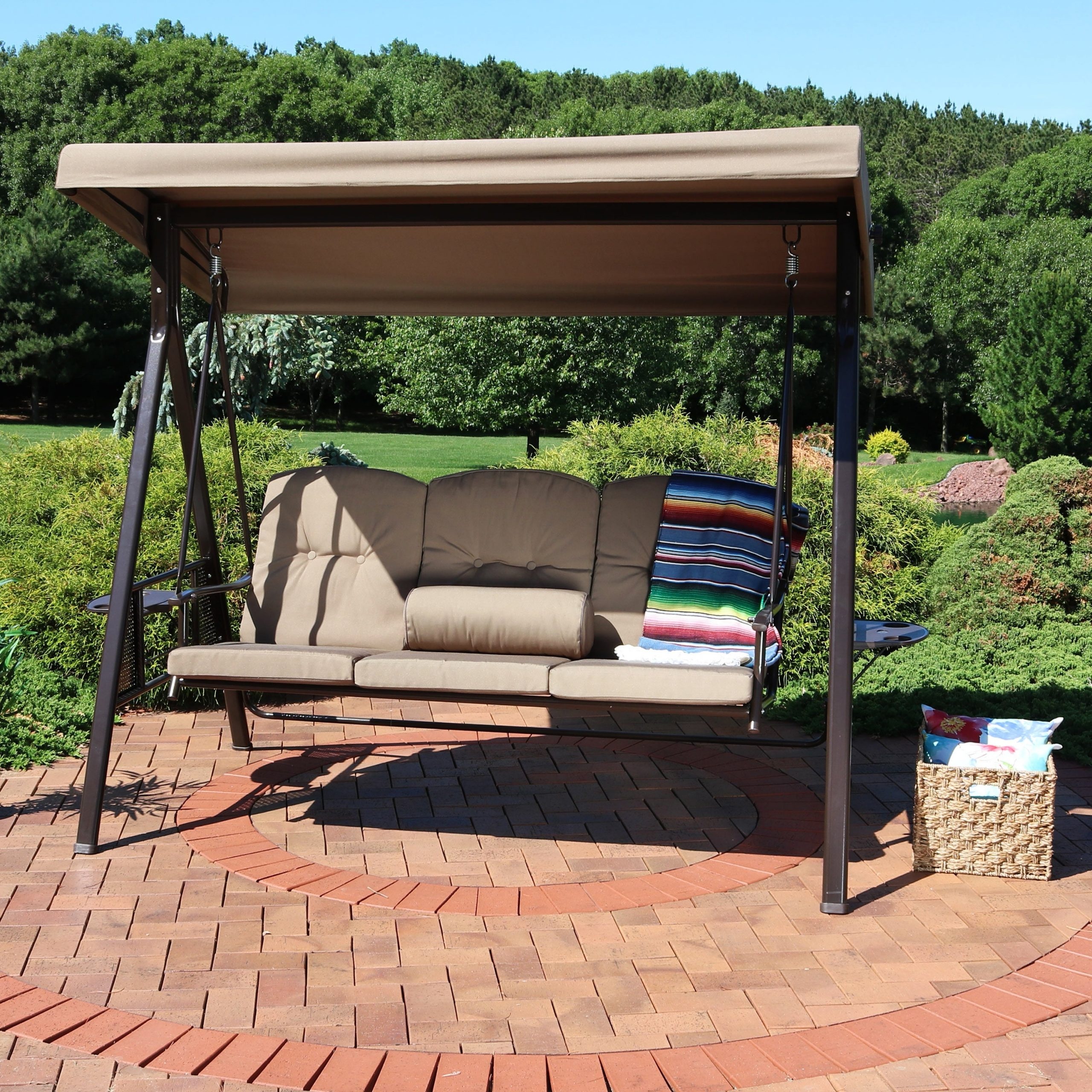 Most Current 3 Person Red With Brown Powder Coated Frame Steel Outdoor Swings With Sunnydaze 3 Person Adjustable Tilt Canopy Patio Swing With Pillows And Cushions (Gallery 10 of 25)
