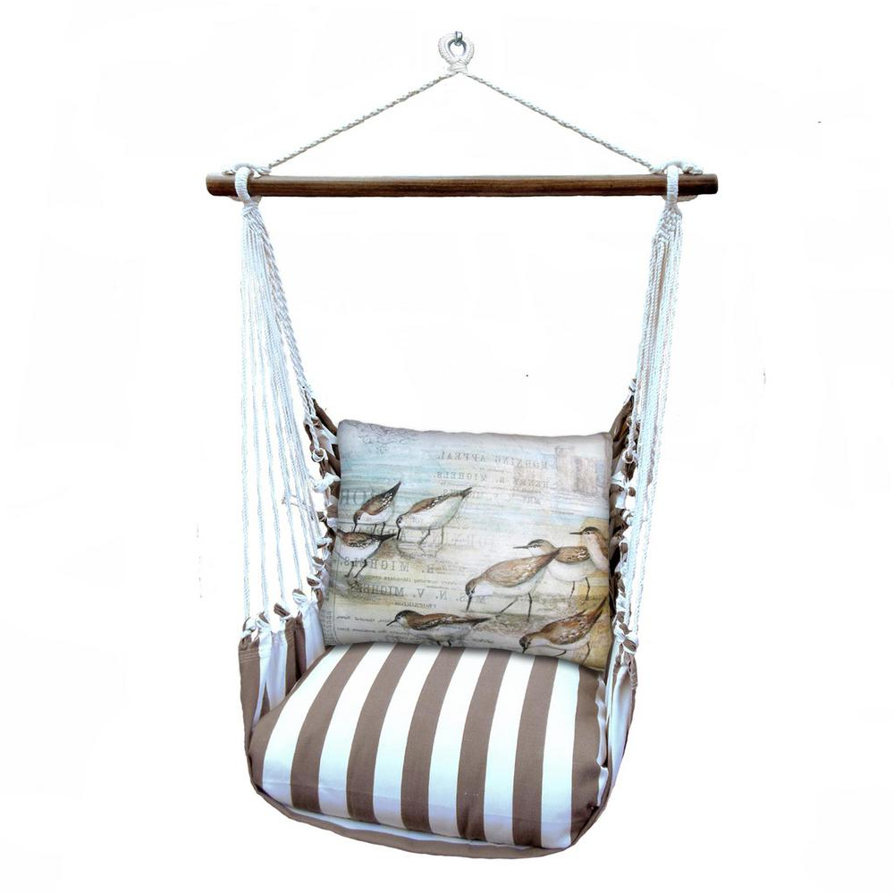 Most Current Cotton Porch Swings Within 3 Piece Wood Polyester Cushioned Porch Swing With Sea Birds Print Back Pillow (View 8 of 25)