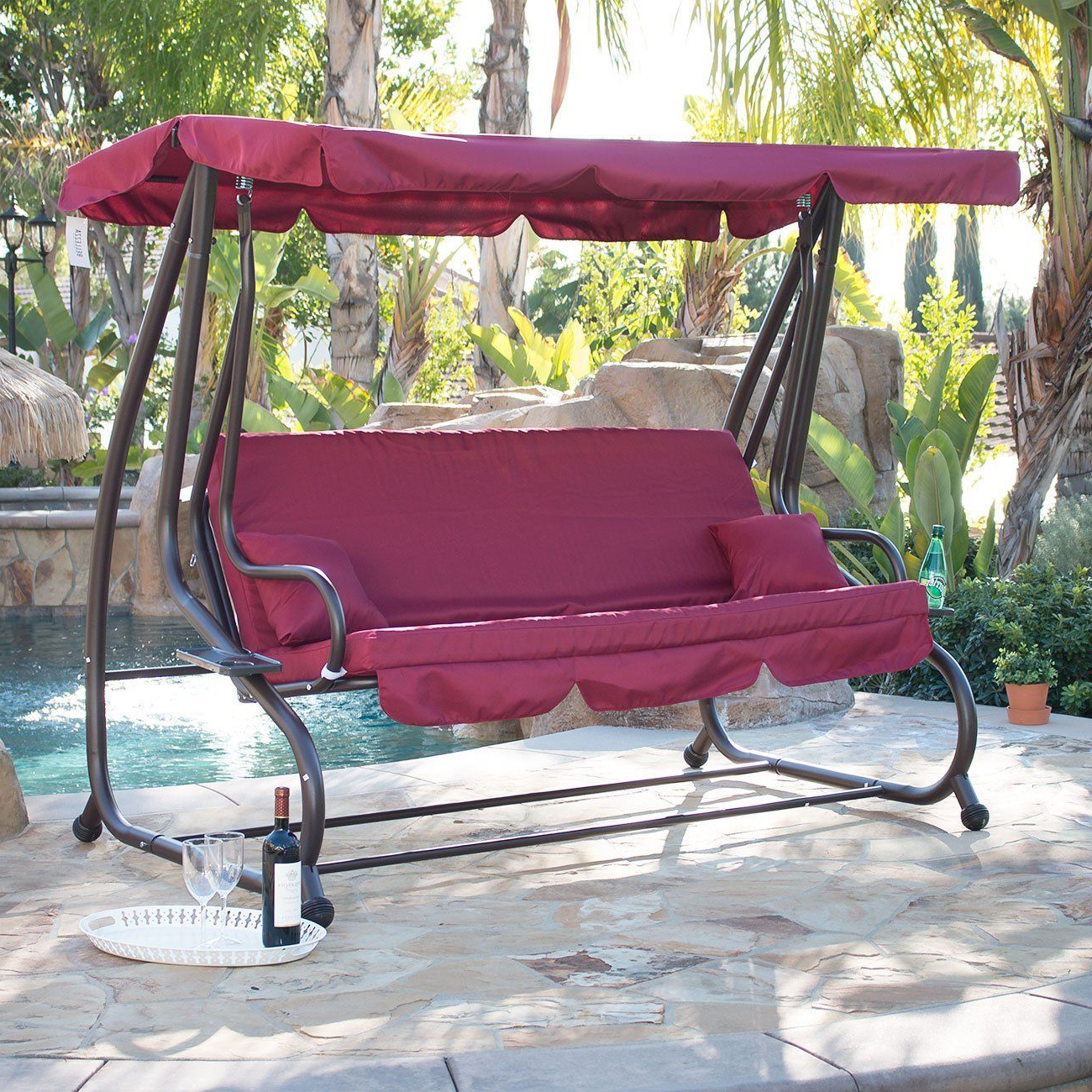 Most Current Garden Leisure Outdoor Hammock Patio Canopy Rocking Chairs Pertaining To Amazon : Bellezza© Outdoor Canopy Porch Swing/bed (View 3 of 25)