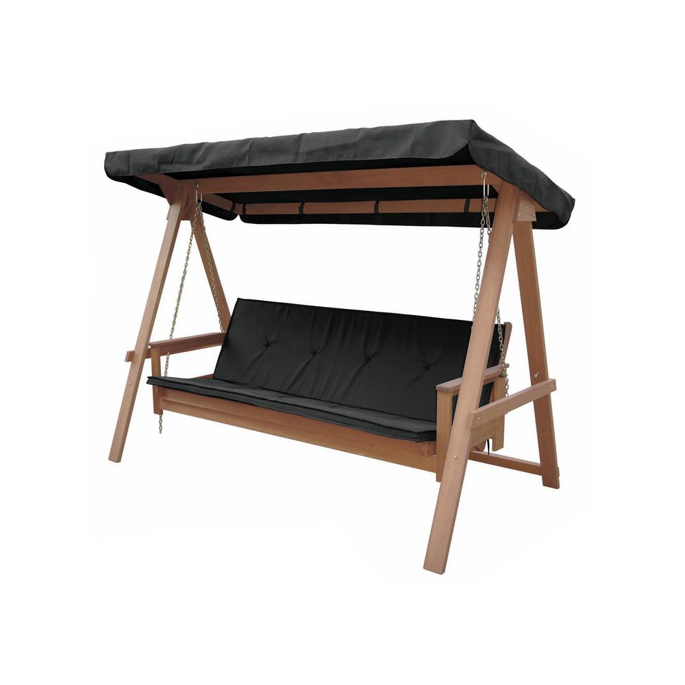 Most Current Lautan Avoca 3 Person Wood Porch Swing With Black Cushion Within 3 Person Light Teak Oil Wood Outdoor Swings (Gallery 5 of 25)