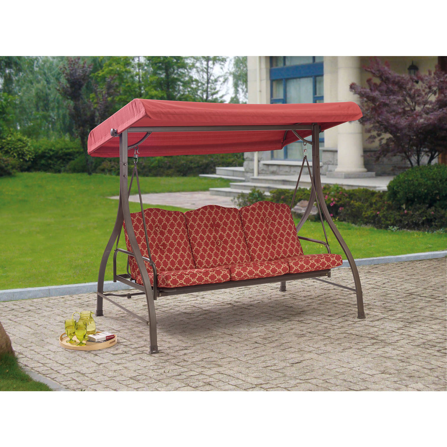 Most Current Outdoor: Cozy Outdoor Swing Cushions For Your Patio Intended For 3 Seats Patio Canopy Swing Gliders Hammock Cushioned Steel Frame (View 18 of 25)