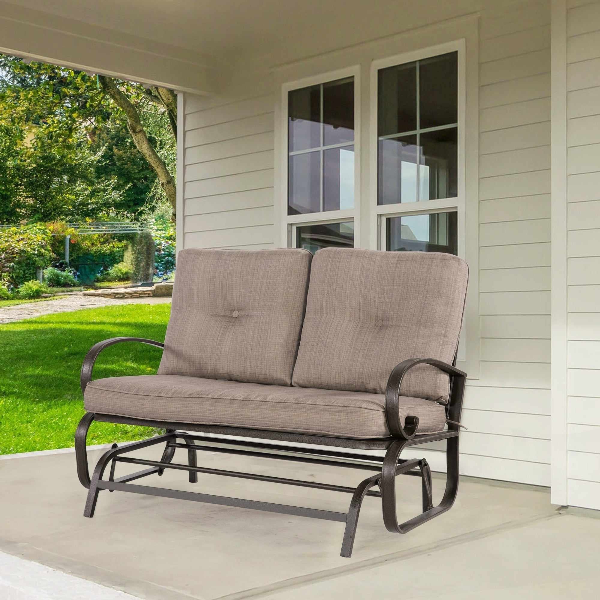 Most Popular 2 Person Loveseat Chair Patio Porch Swings With Rocker Within 2 Person Loveseat Cushioned Rocking Bench Furniture Patio Swing Rocker Lounge Glider Chair Outdoor Patio, Gradient Brown (Gallery 13 of 25)