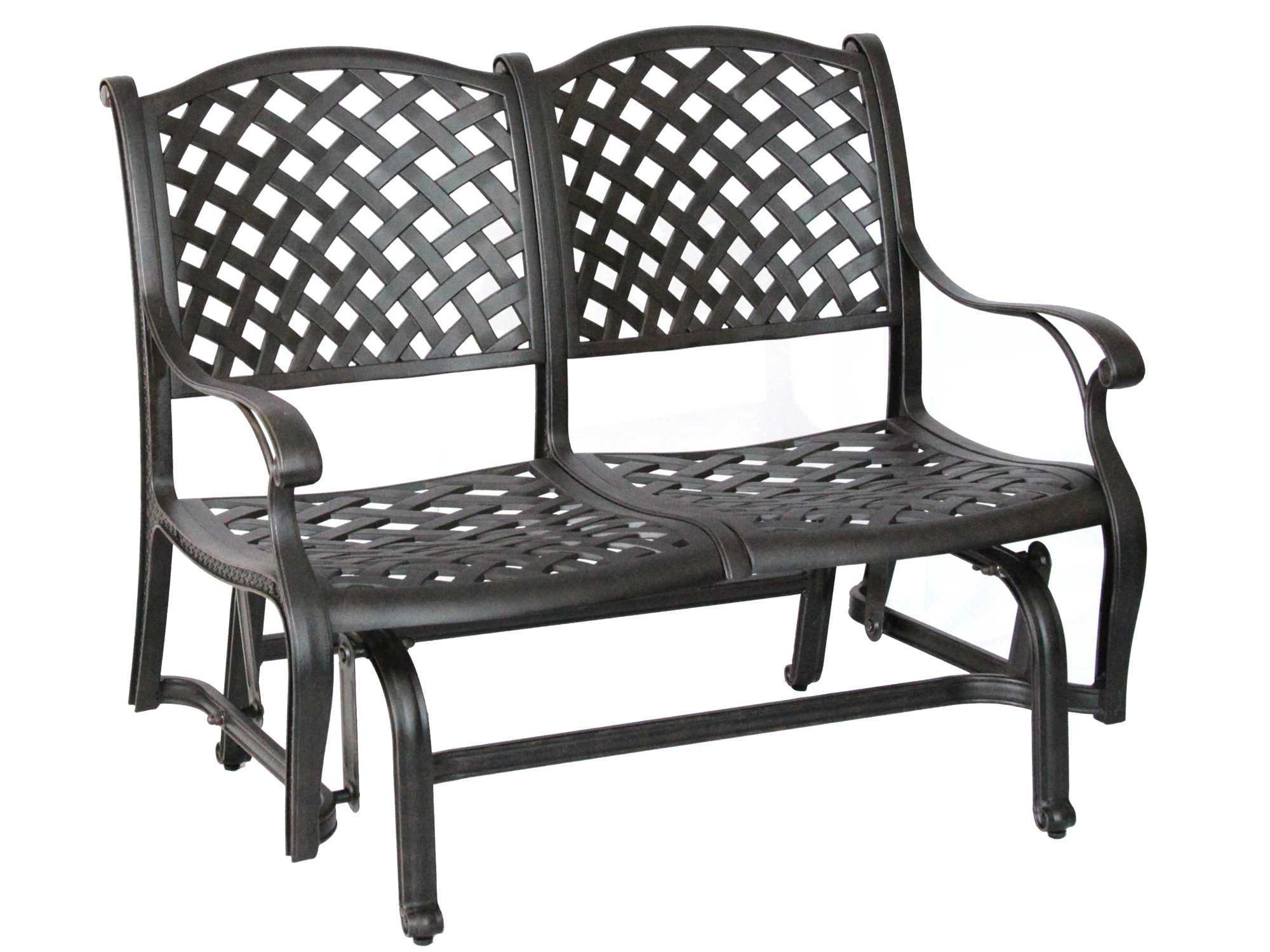 Most Popular Darlee Outdoor Living Standard Nassau Cast Aluminum Antique Intended For 2 Person Antique Black Iron Outdoor Gliders (View 11 of 25)