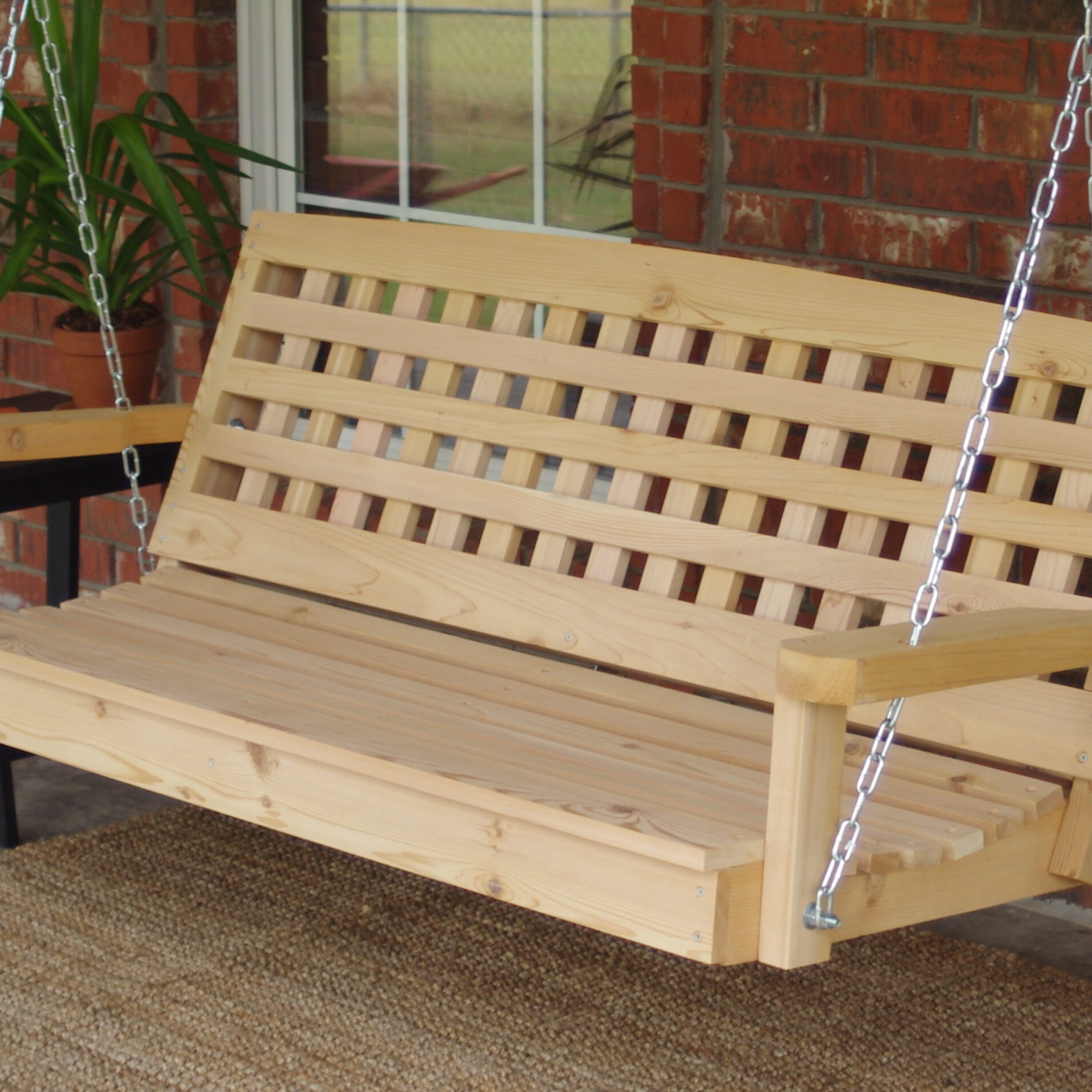 Most Popular Hinderliter Lattice Back Cedar Porch Swing With Regard To 2 Person Natural Cedar Wood Outdoor Swings (Gallery 11 of 25)