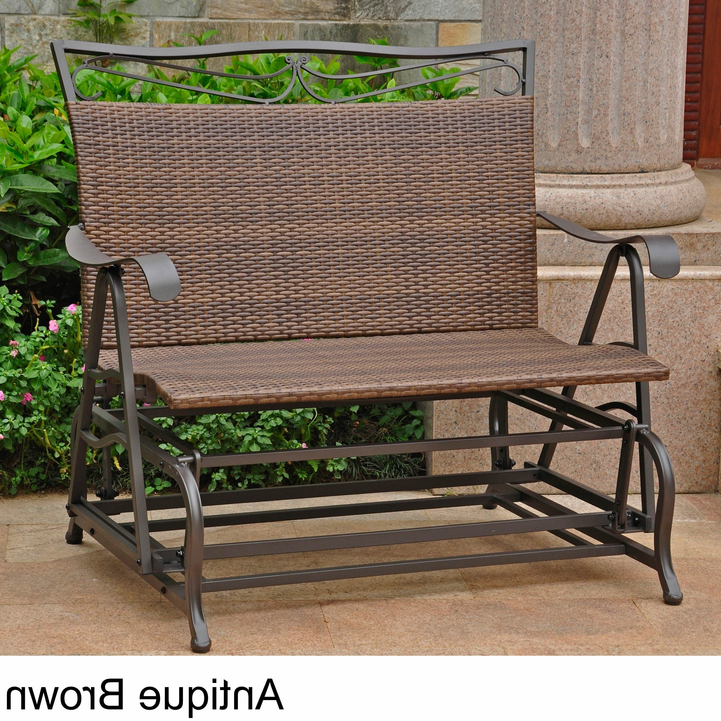 Most Recent 1 Person Antique Black Steel Outdoor Gliders With Regard To International Caravan Valencia Resin Wicker/ Steel Frame Double Glider Chair (View 11 of 25)