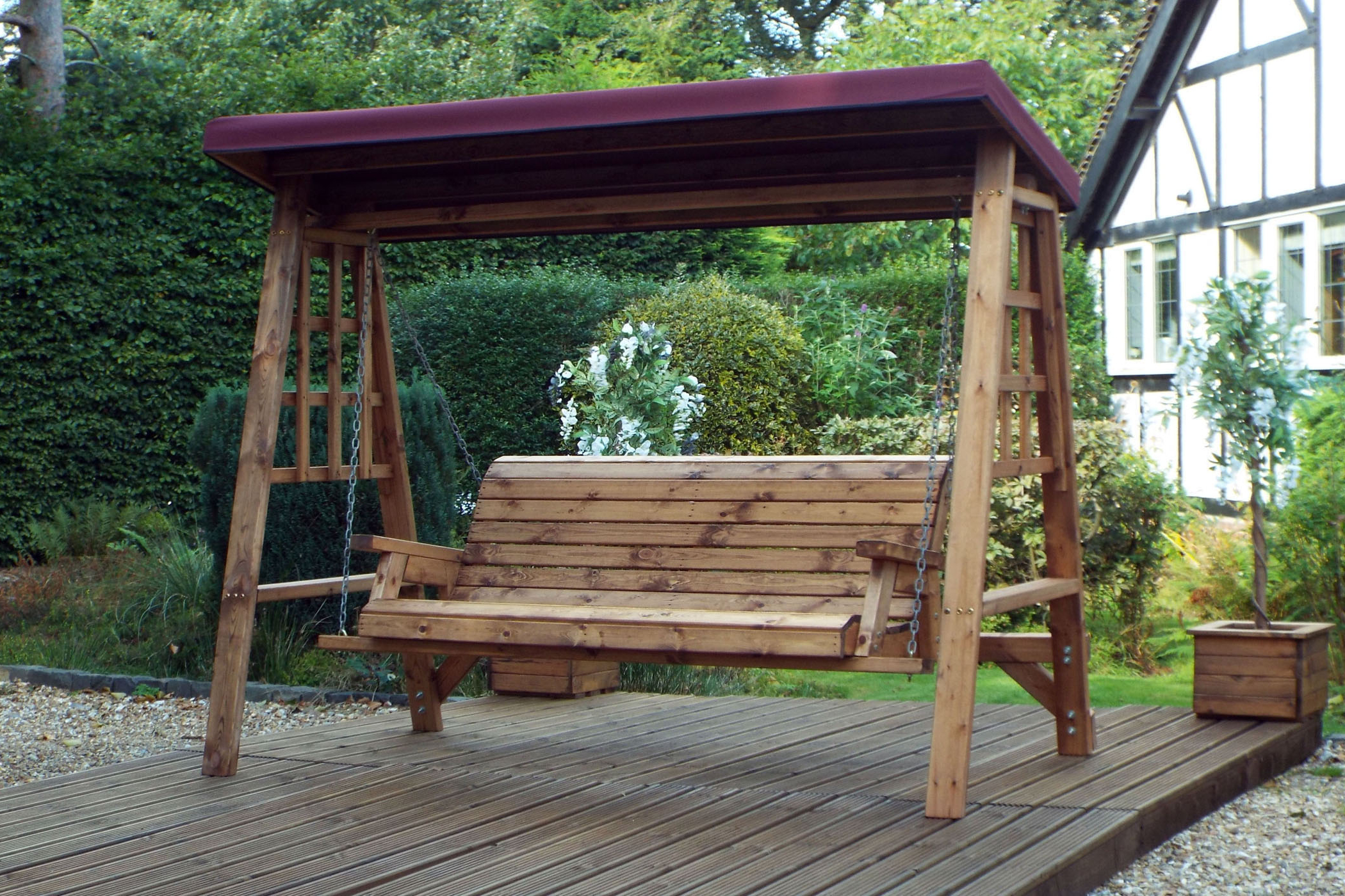 Most Recent 3 Seater Wooden Garden Swing Seat – Wooden Garden Hammock – 3 Seat Swing With Canopy Intended For 3 Seat Pergola Swings (View 5 of 25)