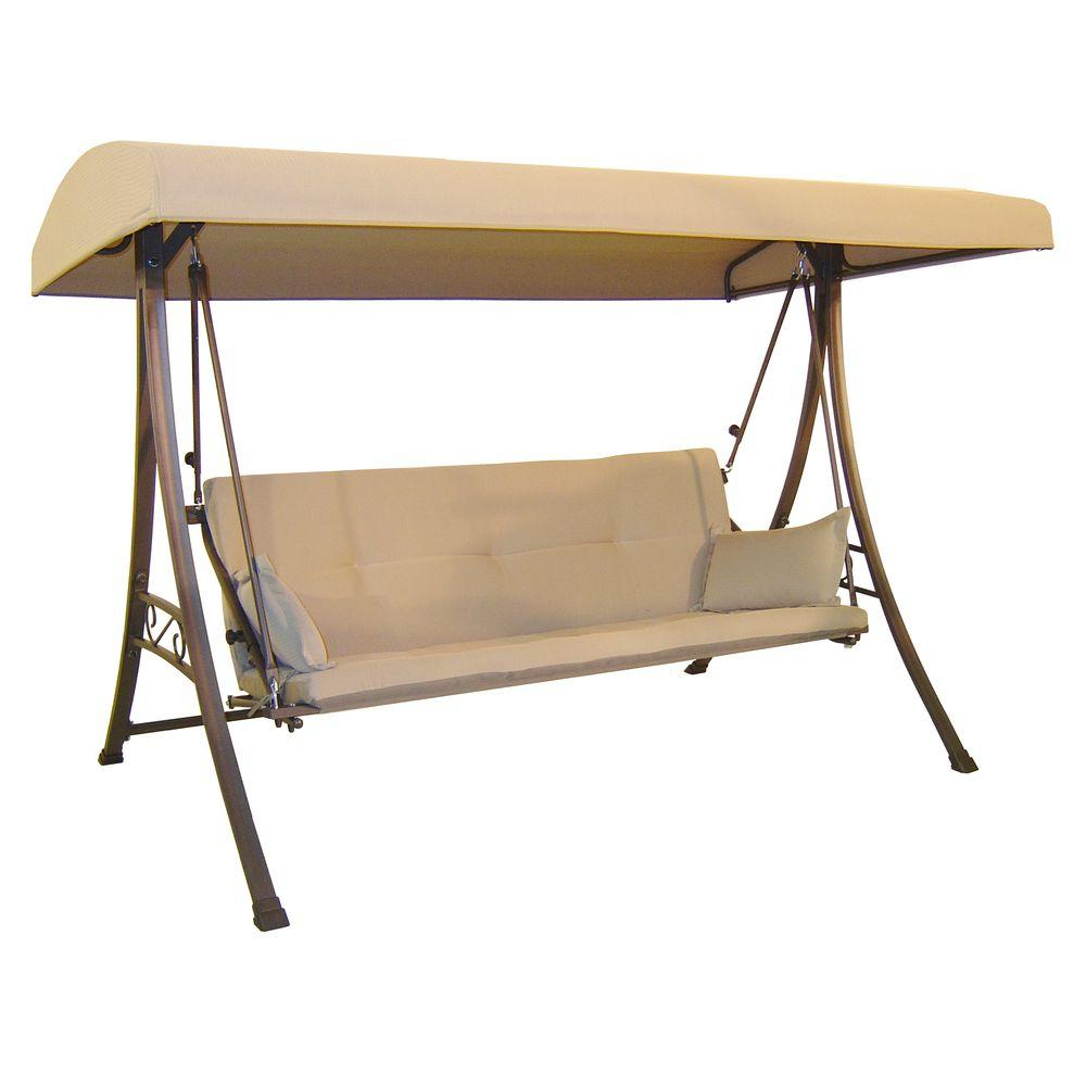 Most Recent 3 Seats Patio Canopy Swing Gliders Hammock Cushioned Steel Frame Regarding Hampton Bay 3 Person Futon Patio Swing (Gallery 21 of 25)
