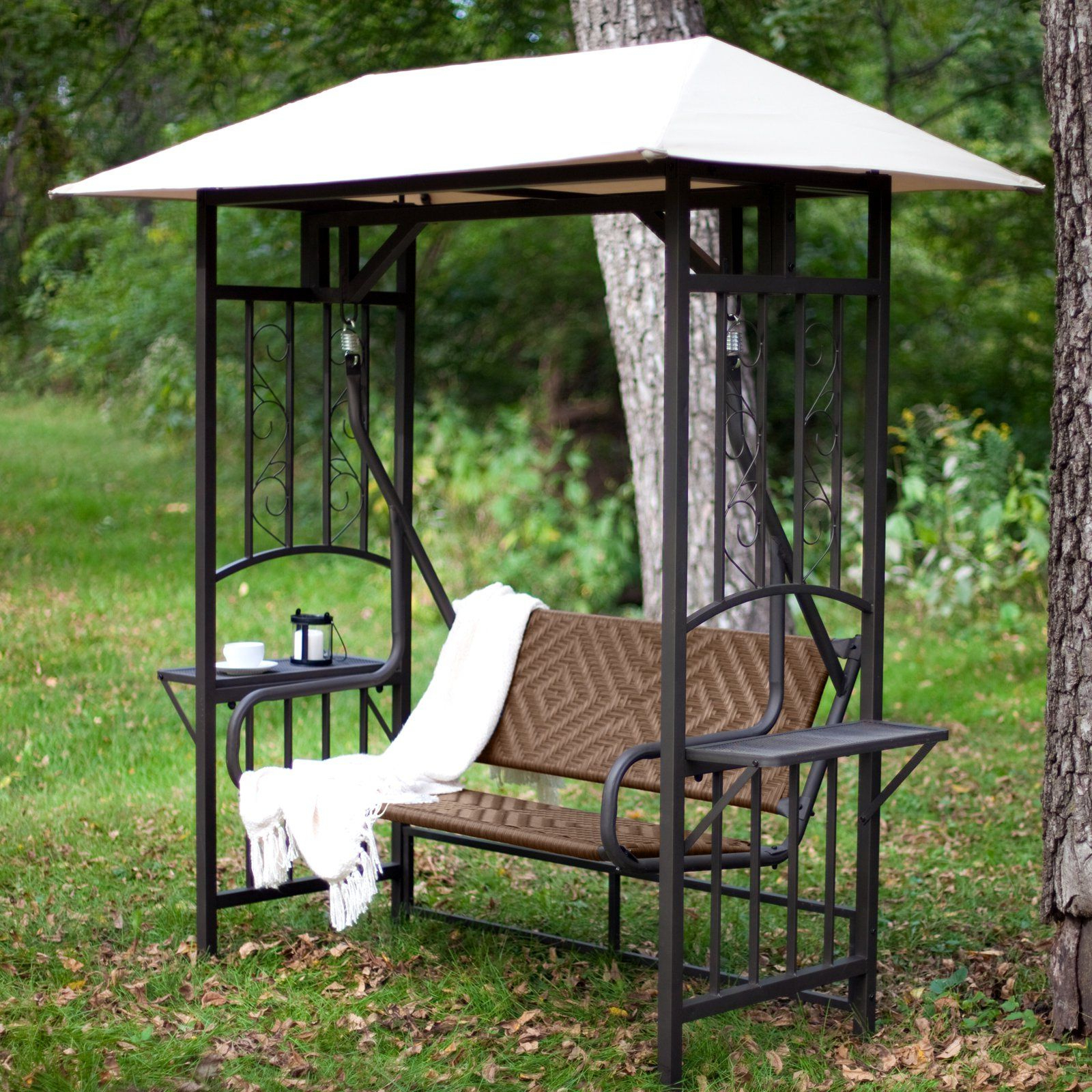 Most Recent Coral Coast Bellora 2 Person Gazebo Swing – Natural Resin Pertaining To Patio Gazebo Porch Canopy Swings (Gallery 1 of 25)