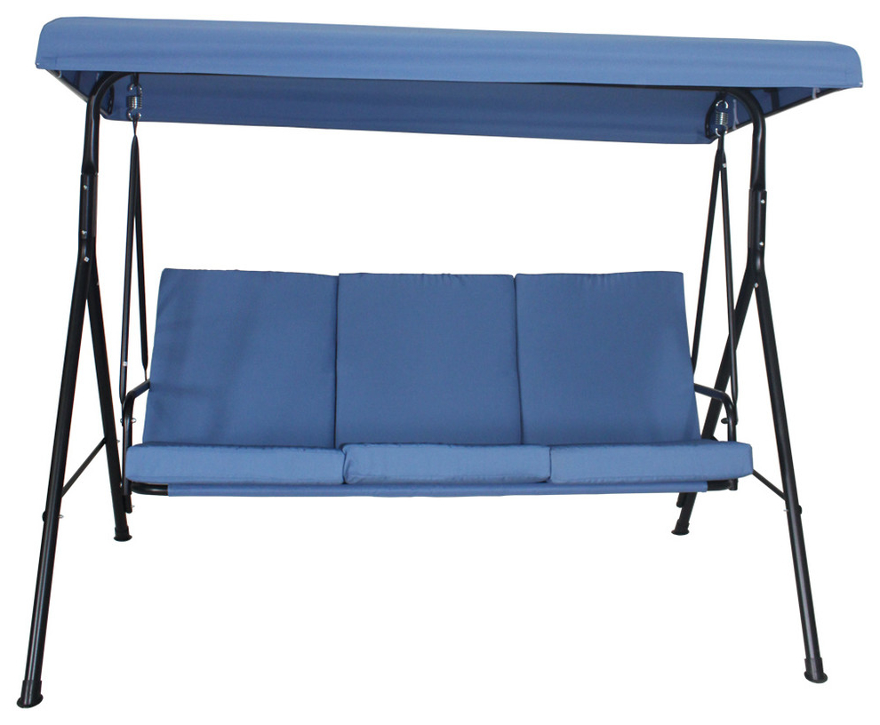 Most Recent Home Beyond 3 Person Steel Fabric Outdoor Porch Swing Canopy With Stand, Blue Throughout 3 Person Outdoor Porch Swings With Stand (View 12 of 25)