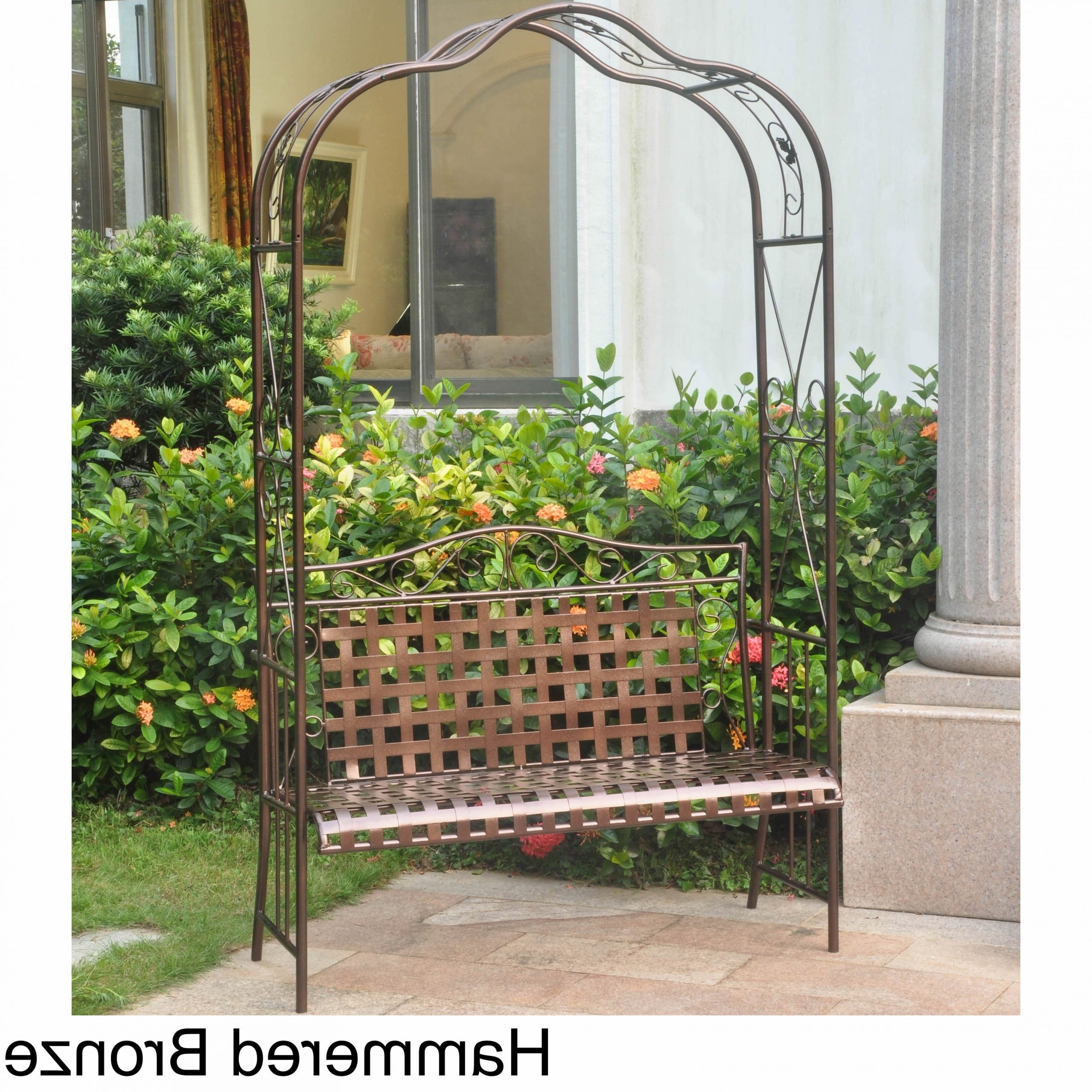 Most Recent International Caravan Mandalay Iron Arbor Bench Intended For 2 Person Hammered Bronze Iron Outdoor Swings (View 22 of 25)