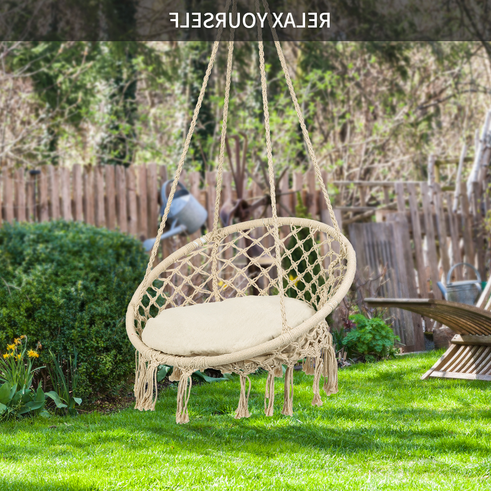 Most Recent Omni Patio Swing Seat Hanging Hammock Cotton Rope Chair With Within Patio Hanging Porch Swings (Gallery 15 of 25)