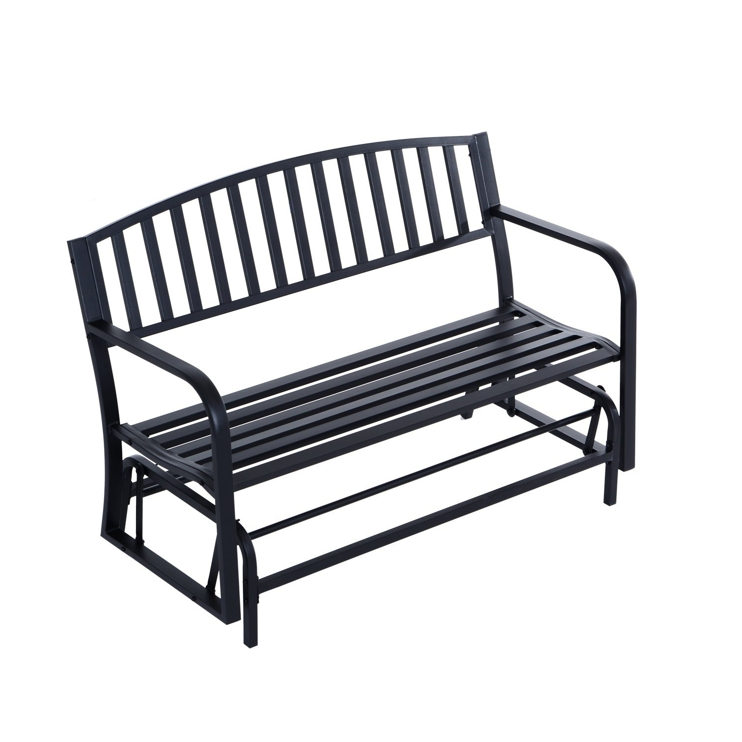 Most Recent Outsunny 50 Inch Outdoor Steel Patio Swing Glider Bench – Black Pertaining To 2 Person Antique Black Iron Outdoor Gliders (View 16 of 25)