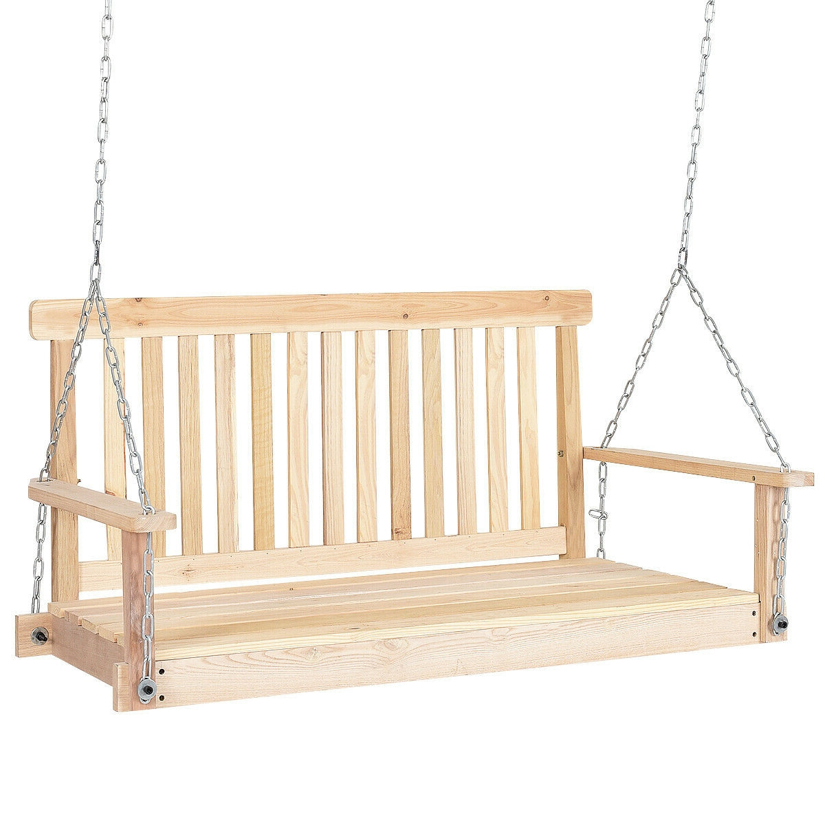 Most Recent Porch Swings With Chain Pertaining To 4' Wood Garden Hanging Seat Chains Porch Swing (Gallery 19 of 26)
